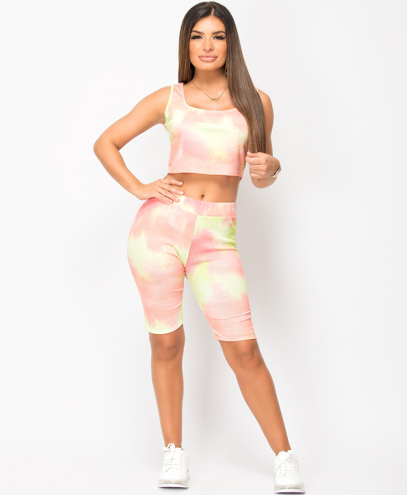Coral-Tie-Dye-Vest-&-Cycling-Short-Co-Ord-Set-1