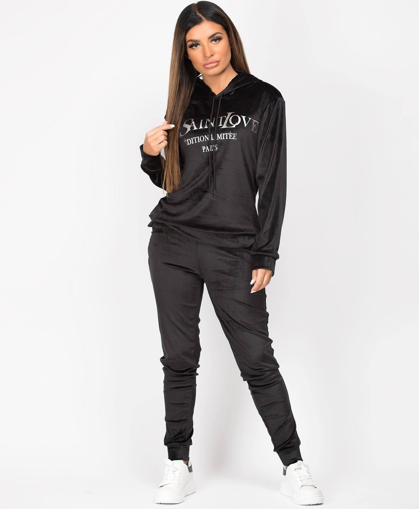 Black-Silver-Yes-Saint-Love-Velvet-Velour-Tracksuit-Loungewear-Set-1