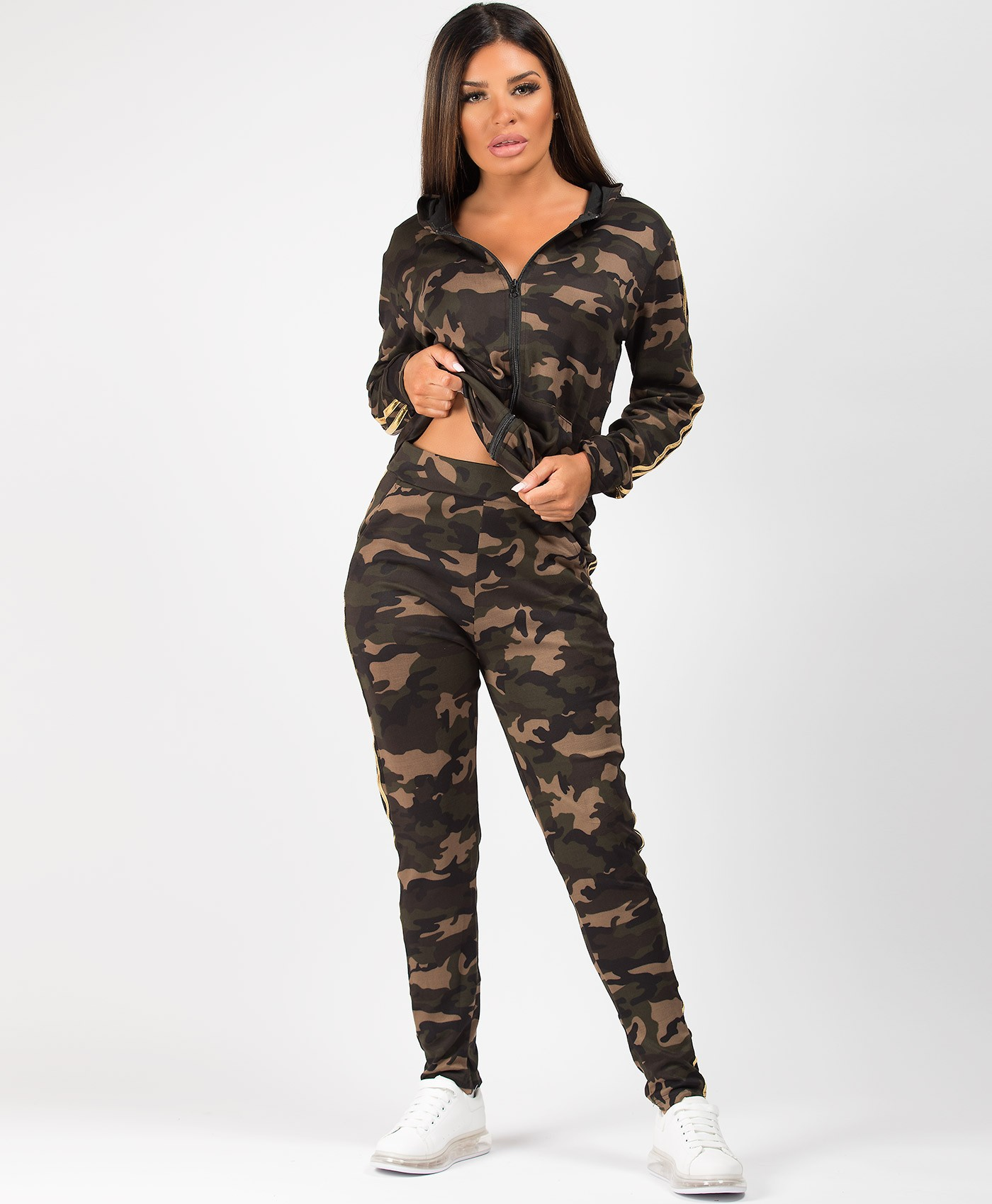 Khaki-Gold-Camouflage-Twin-Stripe-Tracksuit-Loungewear-Set-1