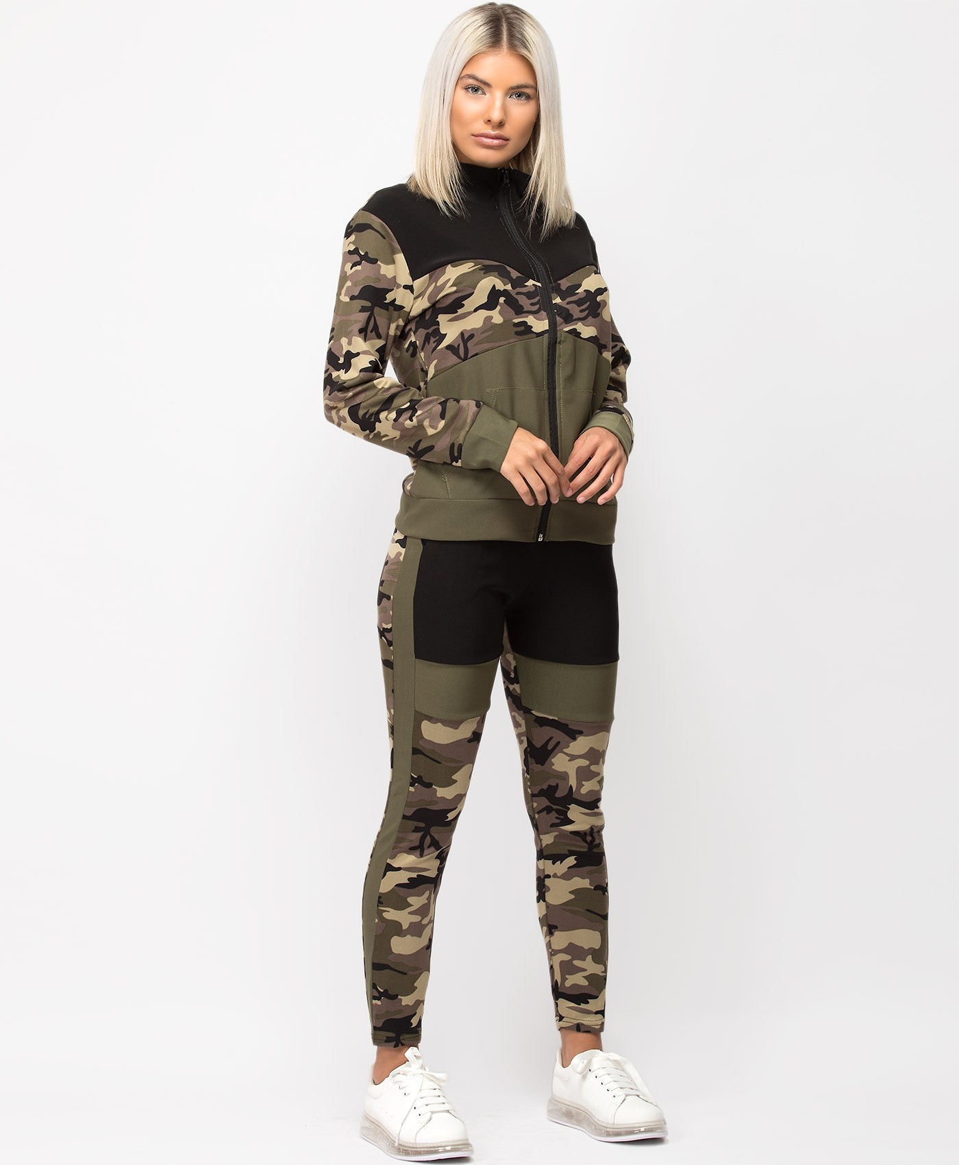 Khaki-Camouflage-Colour-Block-Zipper-&-Joggers-Loungewear-Set-2