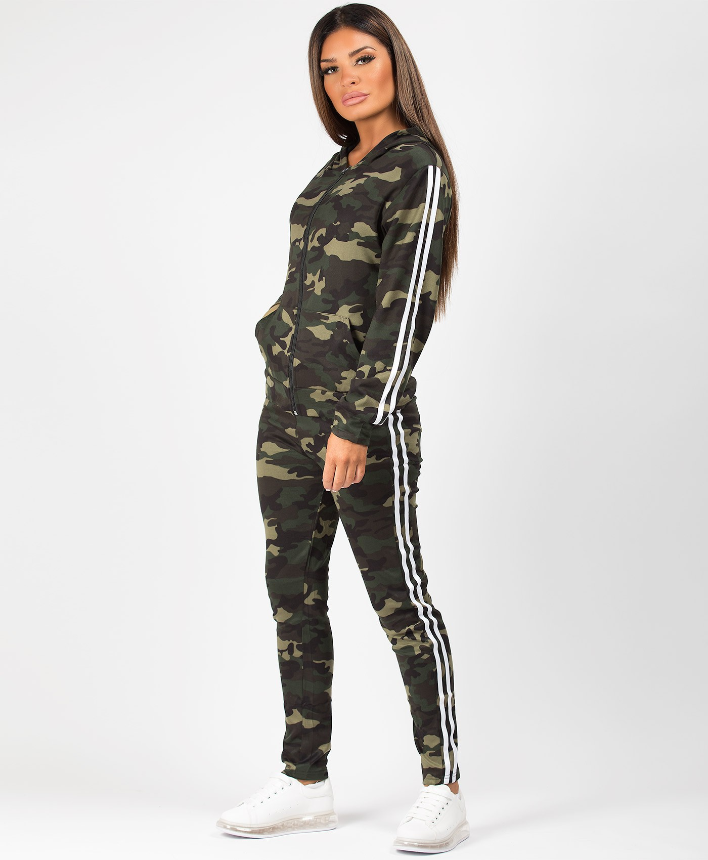 Khaki-Camouflage-White-Side-Stripe-Tracksuit-Loungewear-Set-2