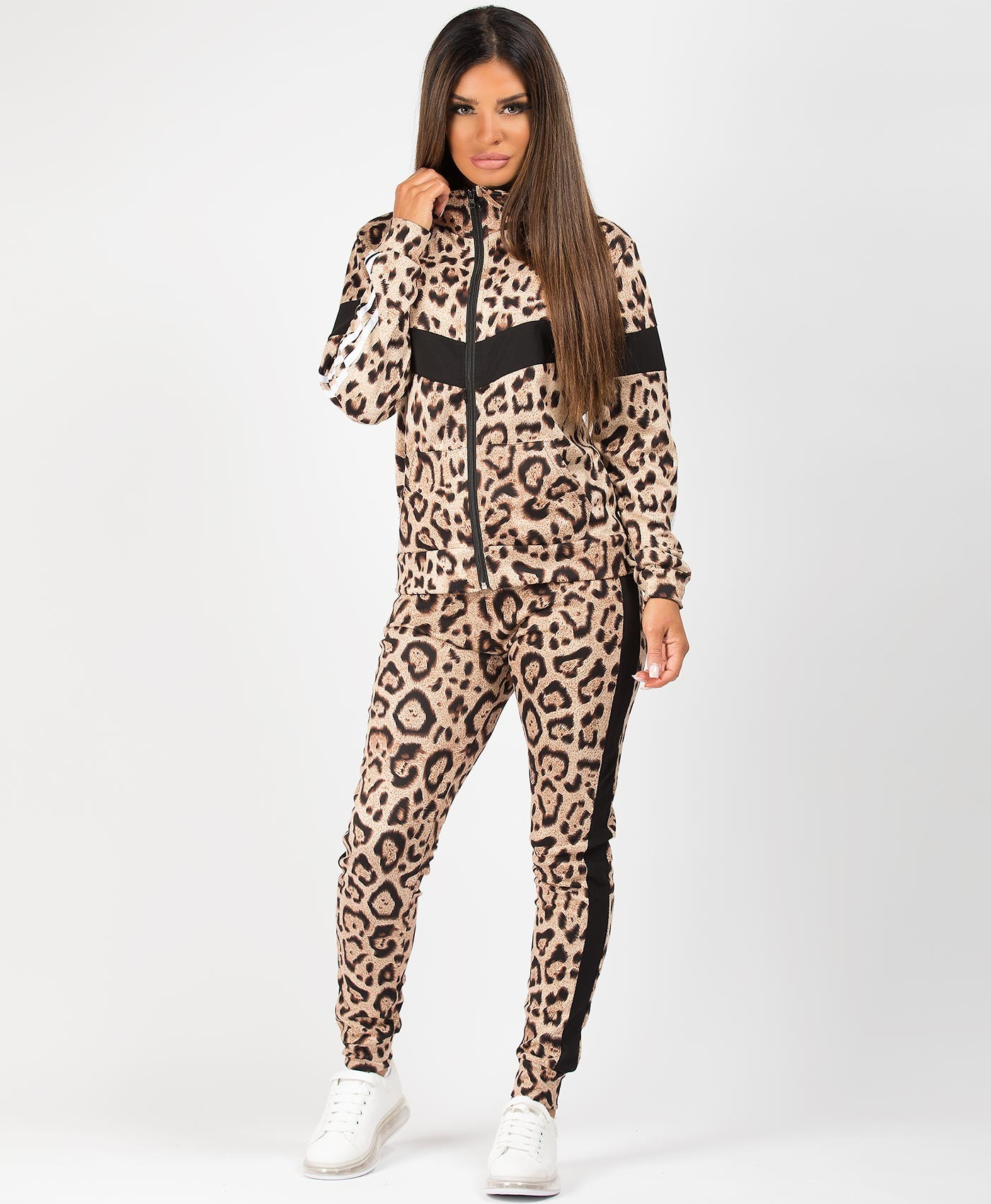 Black-Leopard-Print-Panel-Side-Stripe-Tracksuit-Loungewear-Set-1
