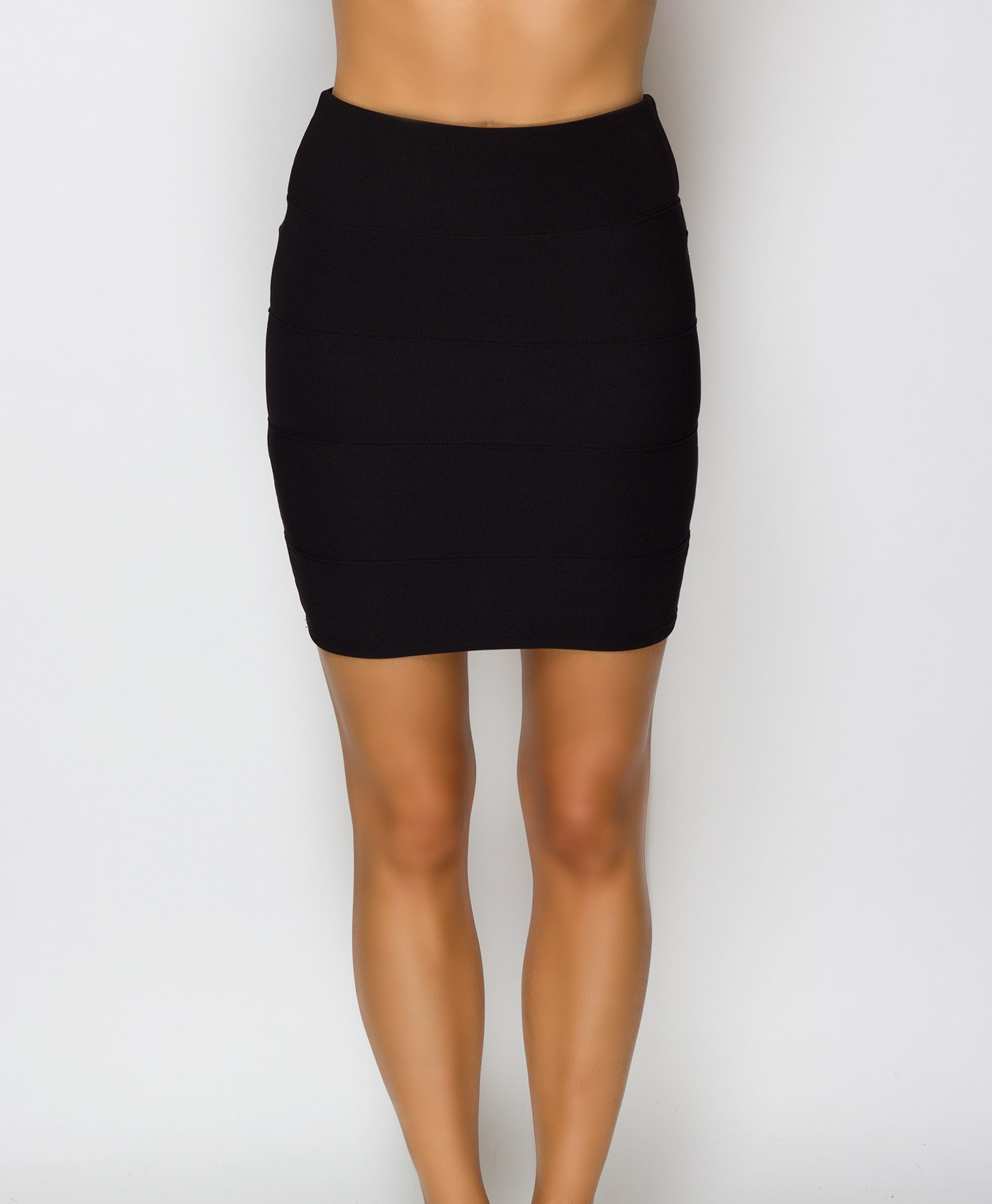 Black Ribbed Multi Panel Skirt