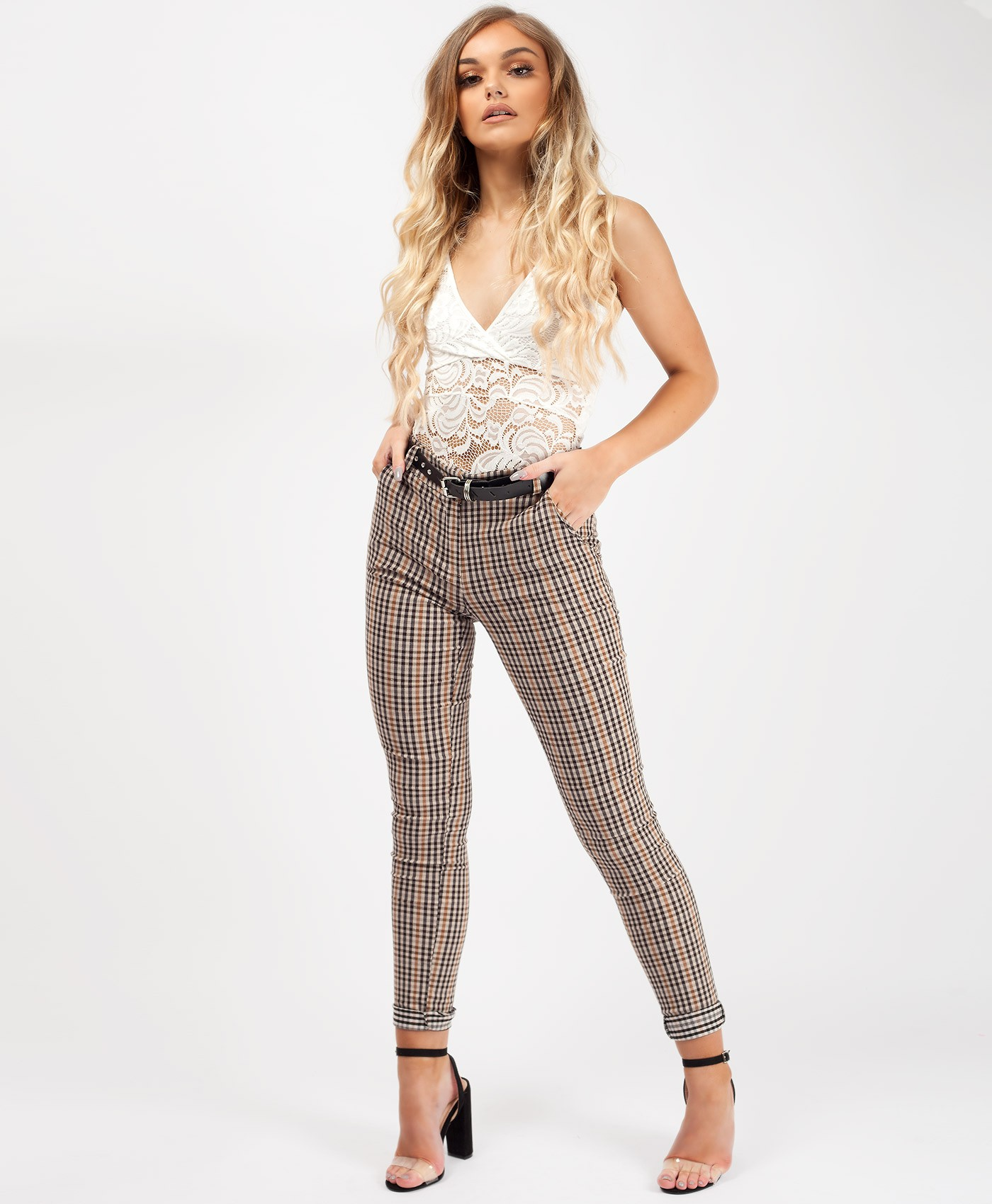 Beige-Check-Belted-Turn-Up-Stretch-Cigarette-Trousers-2