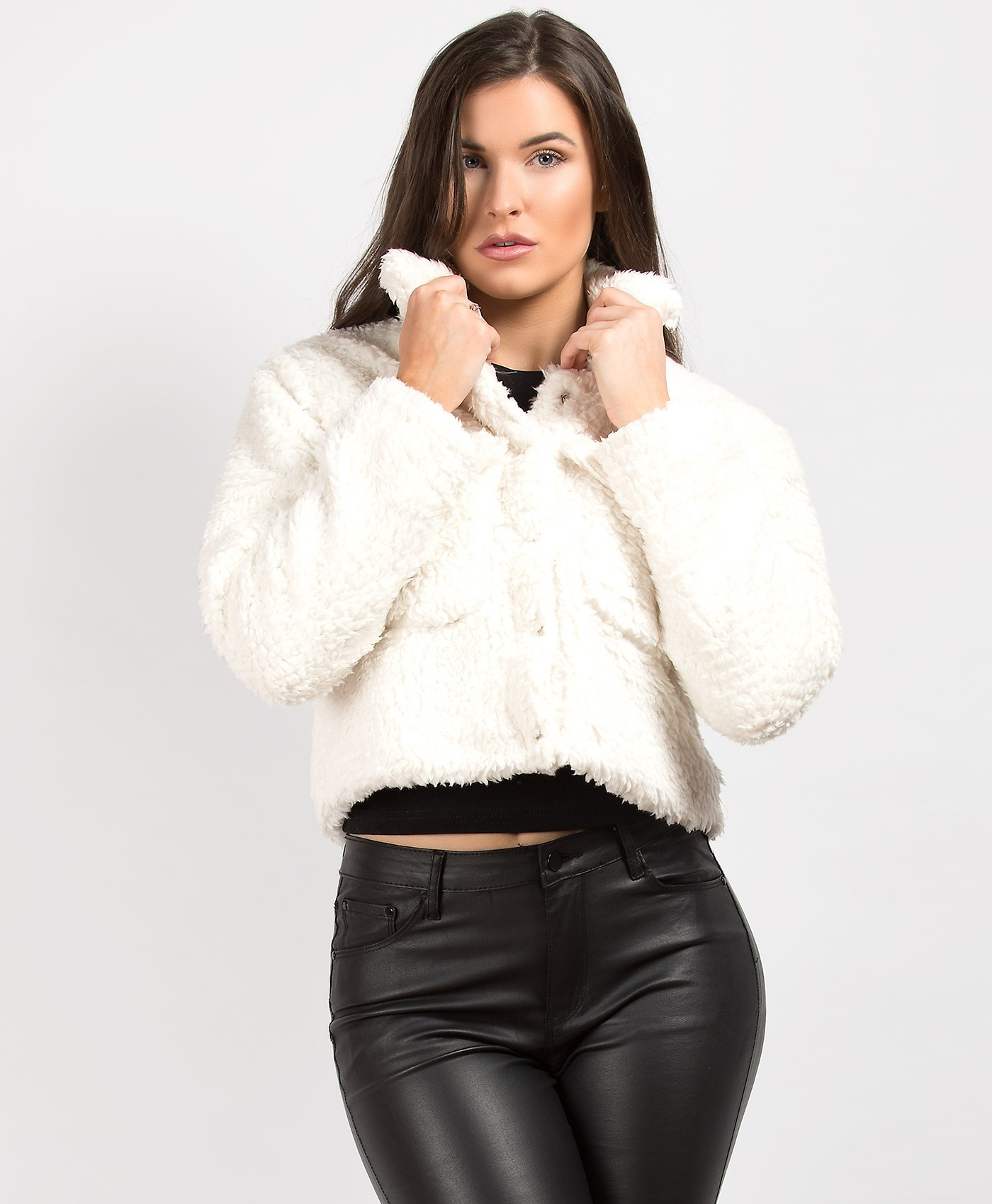 White Teddy Fur Cropped Borg Trucker Jacket