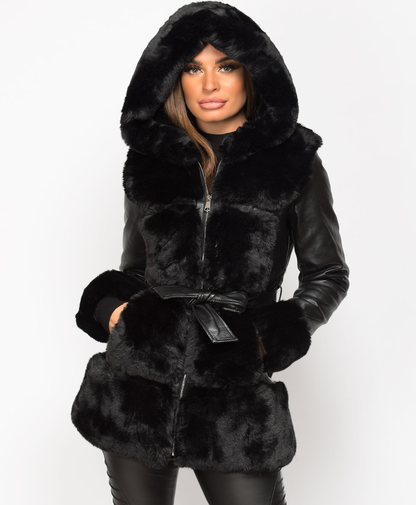 Black Faux Fur Trim Hooded PU PVC Belted Coat