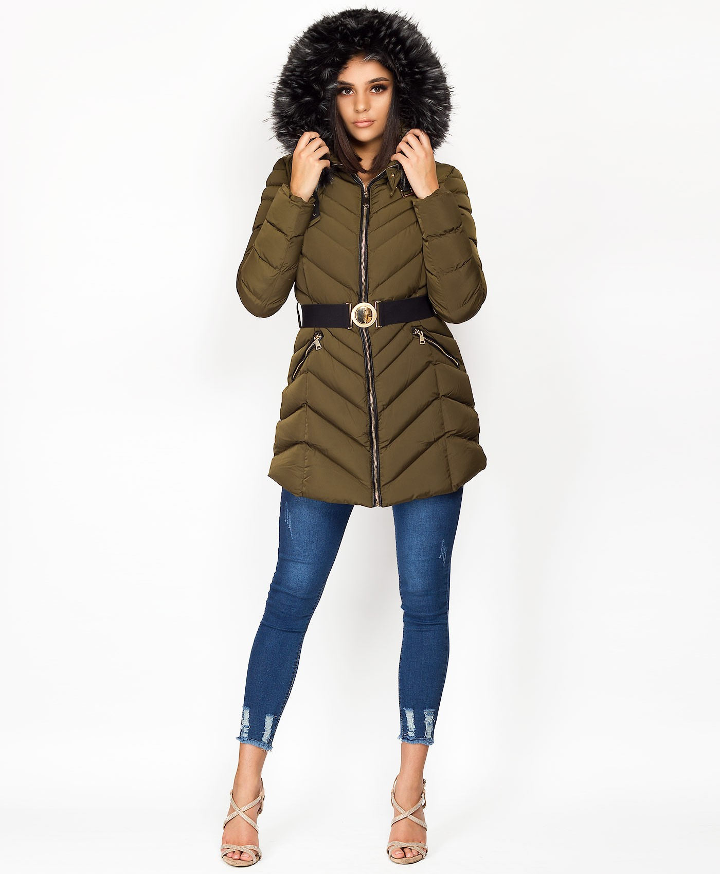 Khaki-3-4-Length-Belted-Chevron-Quilted-Padded-Jacket-4