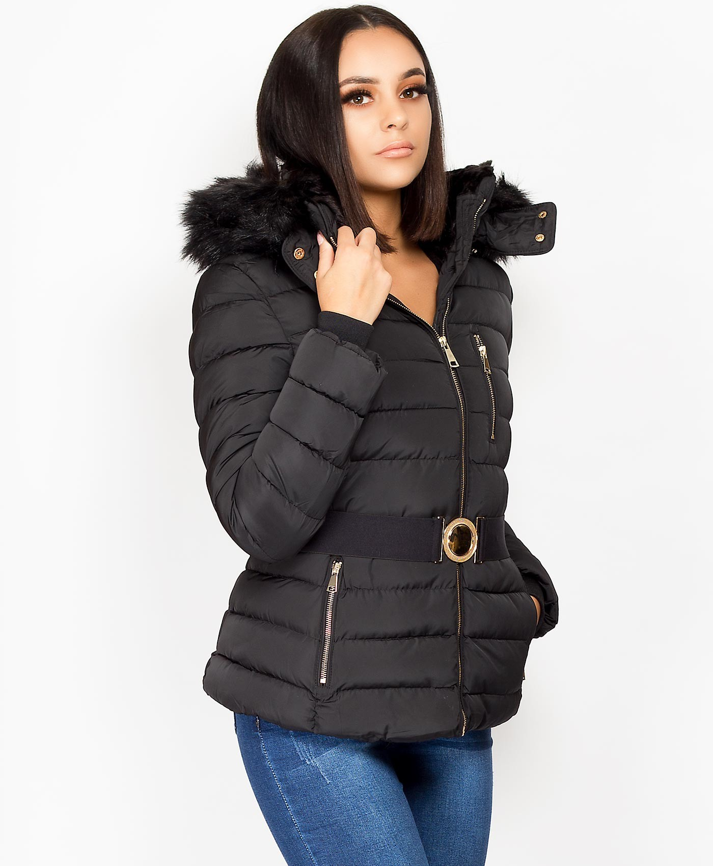 Black-Quilted-Padded-Front-Zip-Belted-Faux-Fur-Hood-Jacket-2
