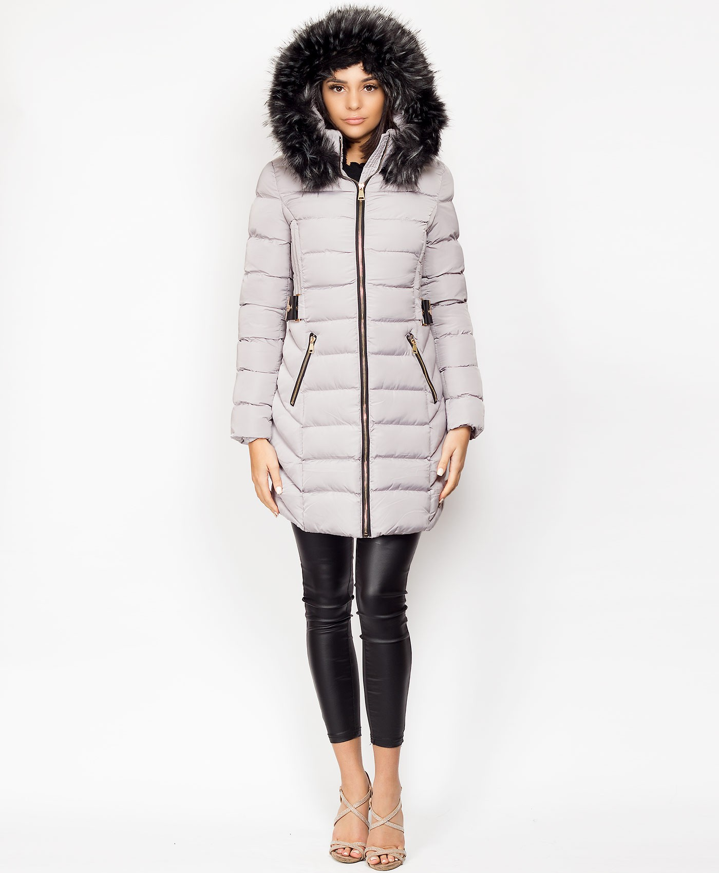 Grey-Padded-Quilted-Side-Buckle-3-4-Length-Faux-Fur-Hood-Puffer-Coat-3