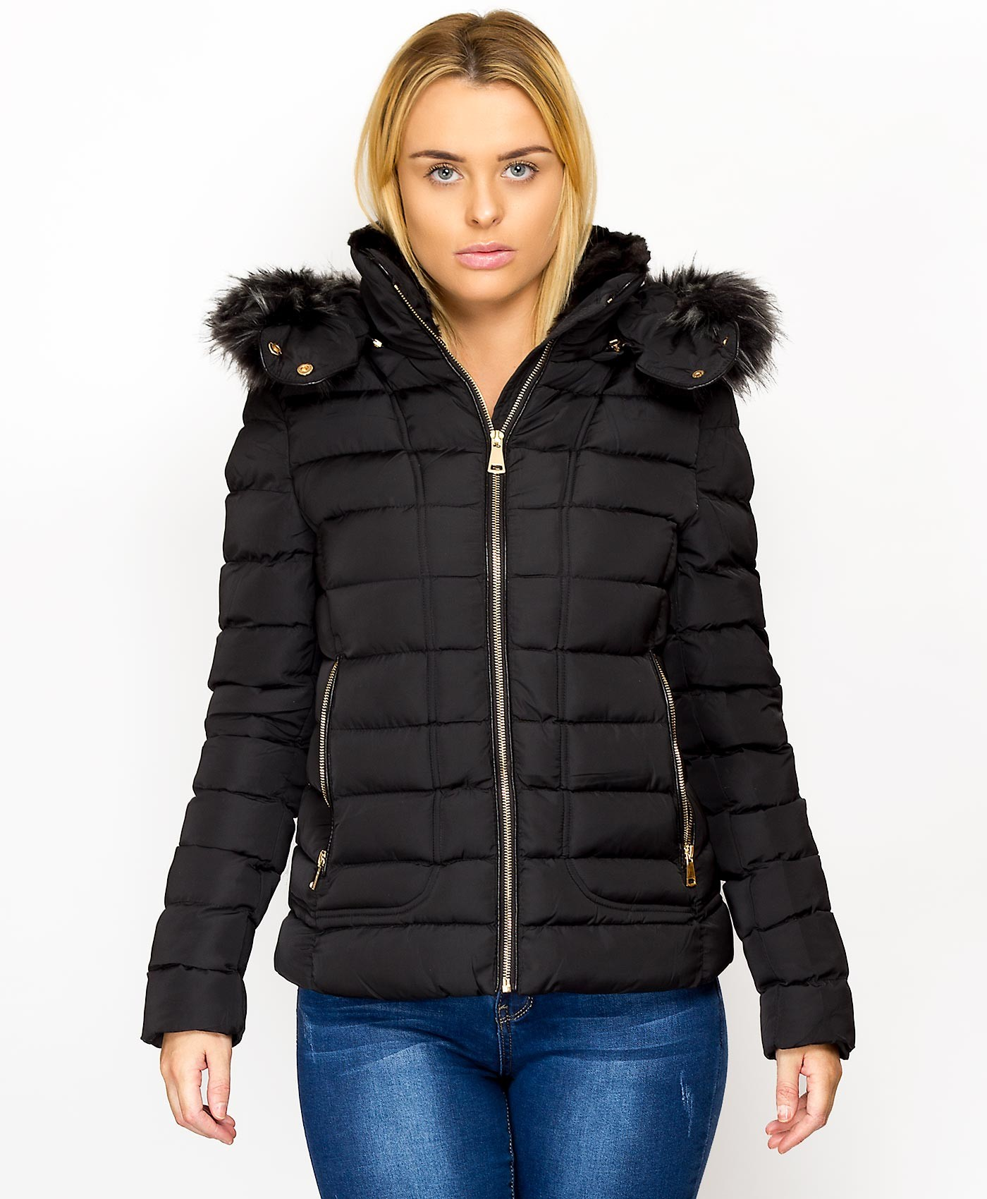 Black-Padded-Quilted-Fur-Hooded-Zip-Back-Jacket-2