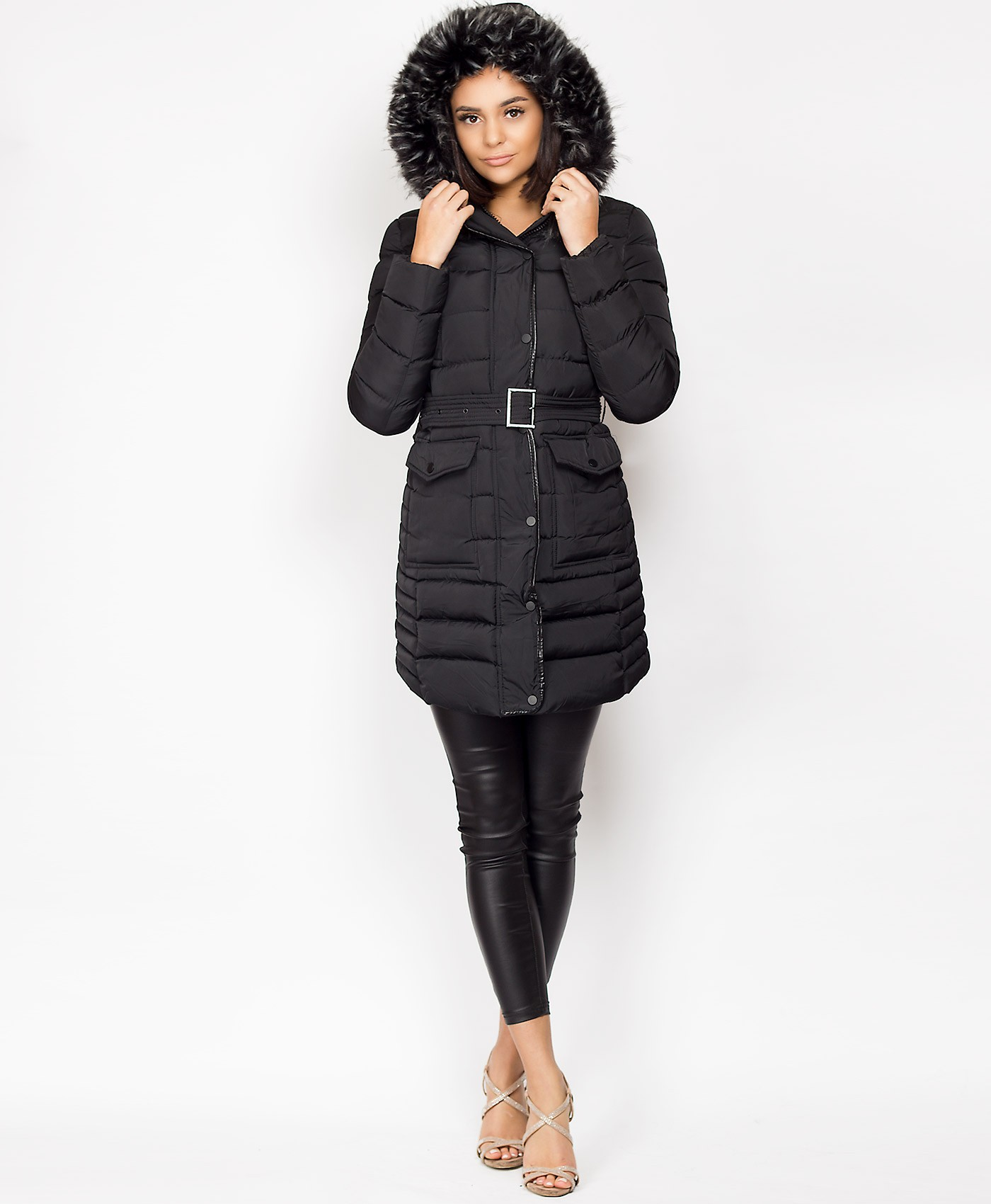 Black-Padded-Quilted-Faux-Fur-Hood-Belted-3-4-Jacket-2
