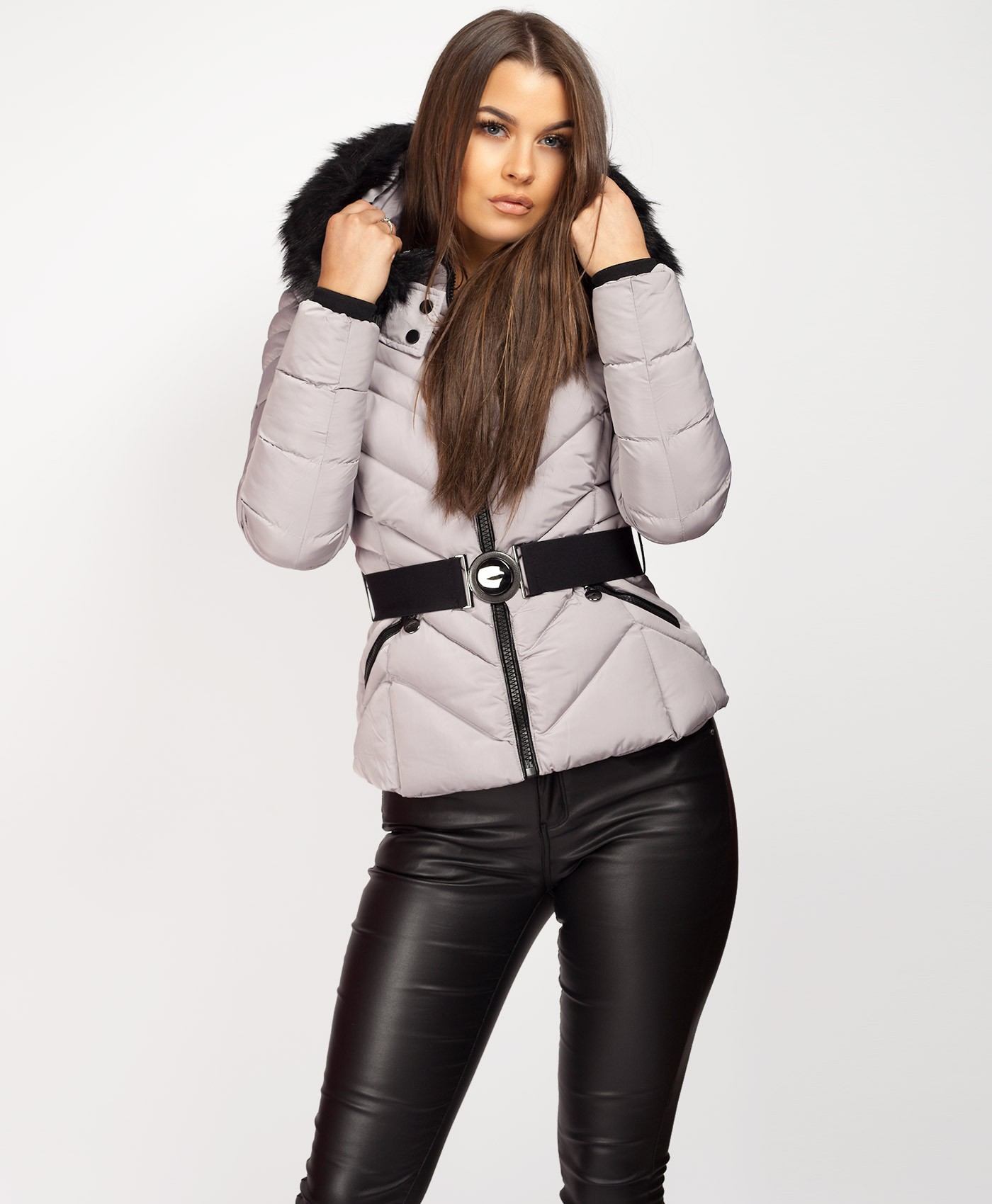 Grey-Padded-Quilted-Belted-Faux-Fur-Hood-Puffer-Coat-2