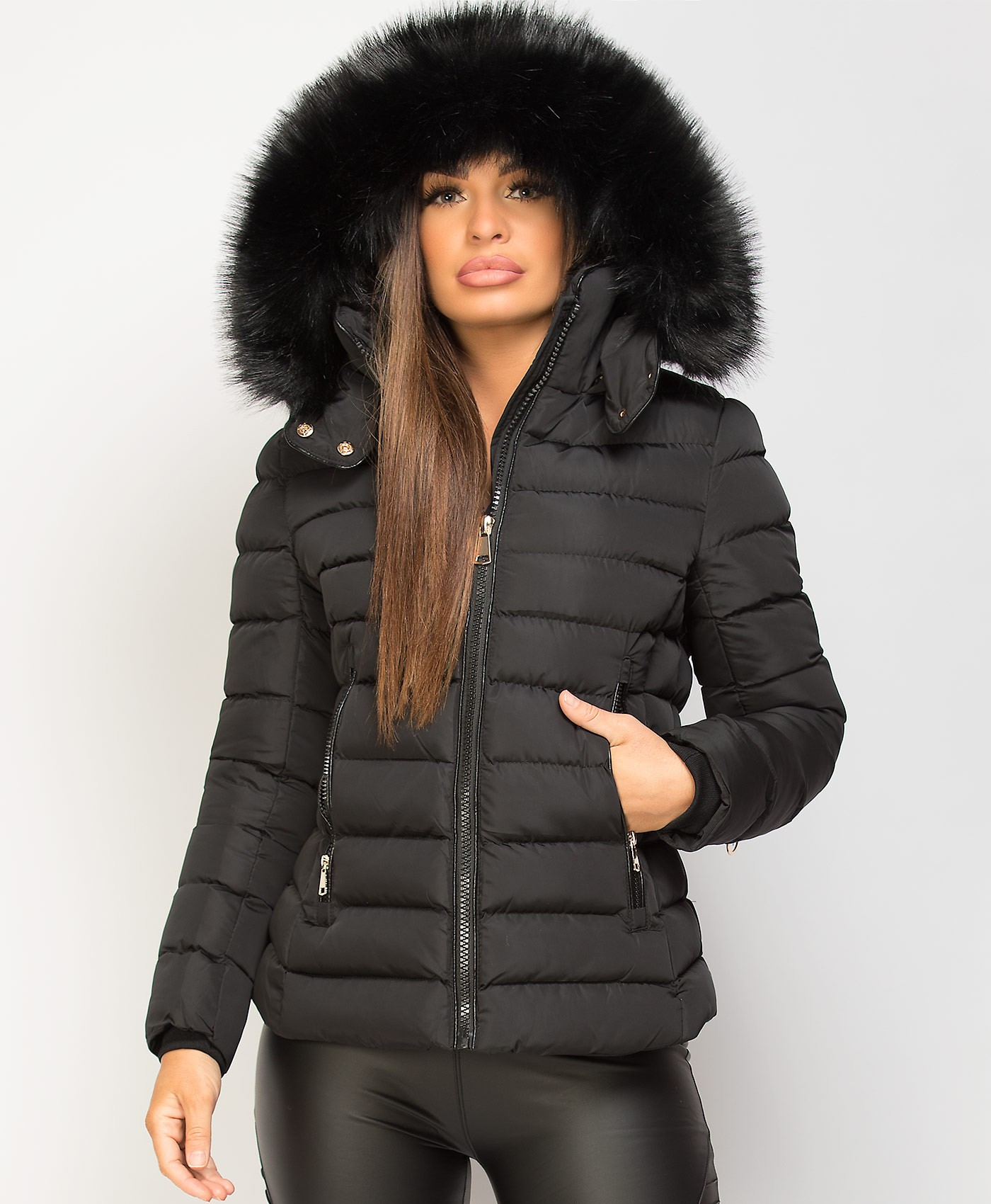Black-Y-912-Quilted-Padded-Contrast-Fur-Hooded-Puffer-Jacket-1