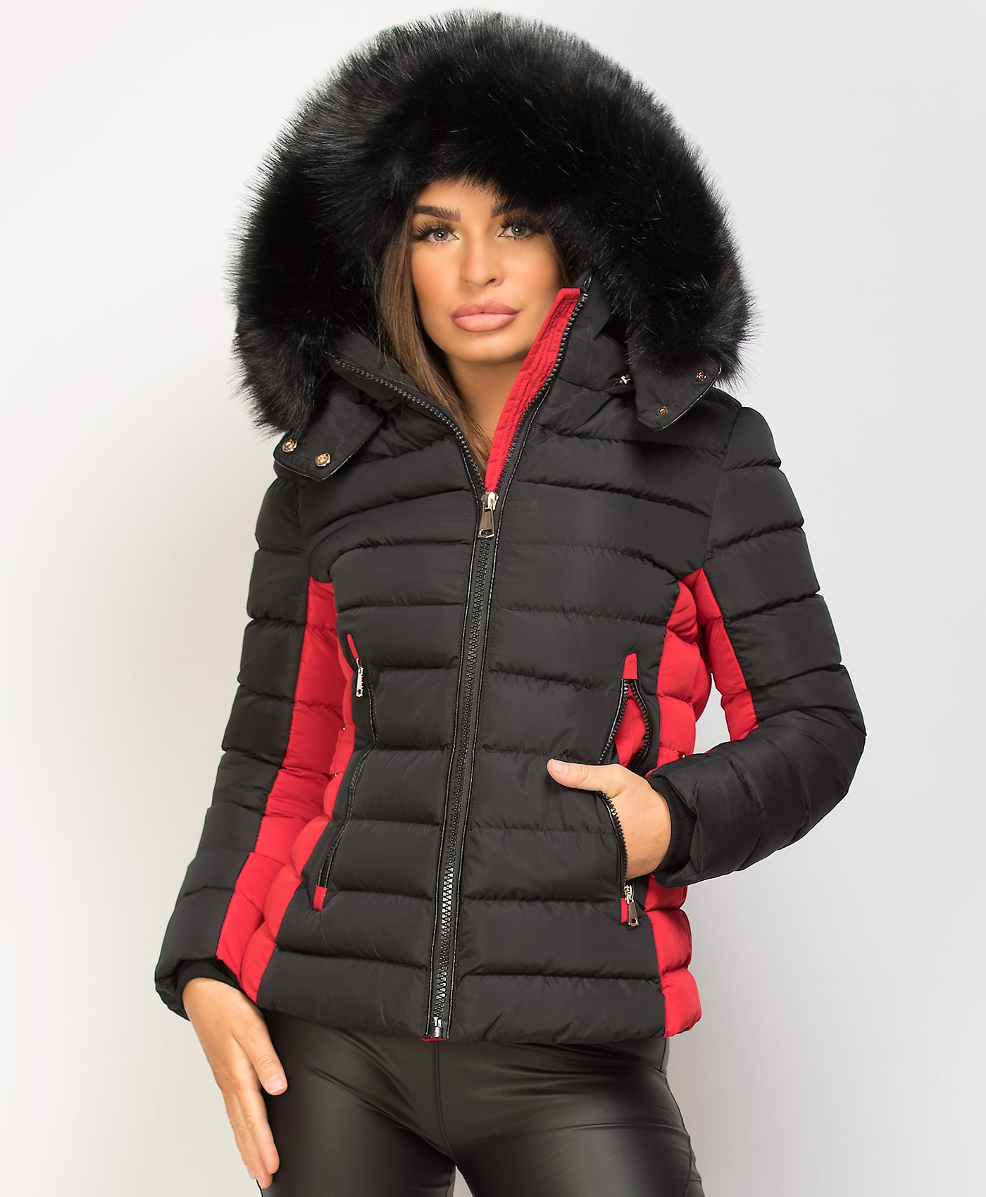Black-Red-Y-912-Quilted-Padded-Contrast-Fur-Hooded-Puffer-Jacket-1