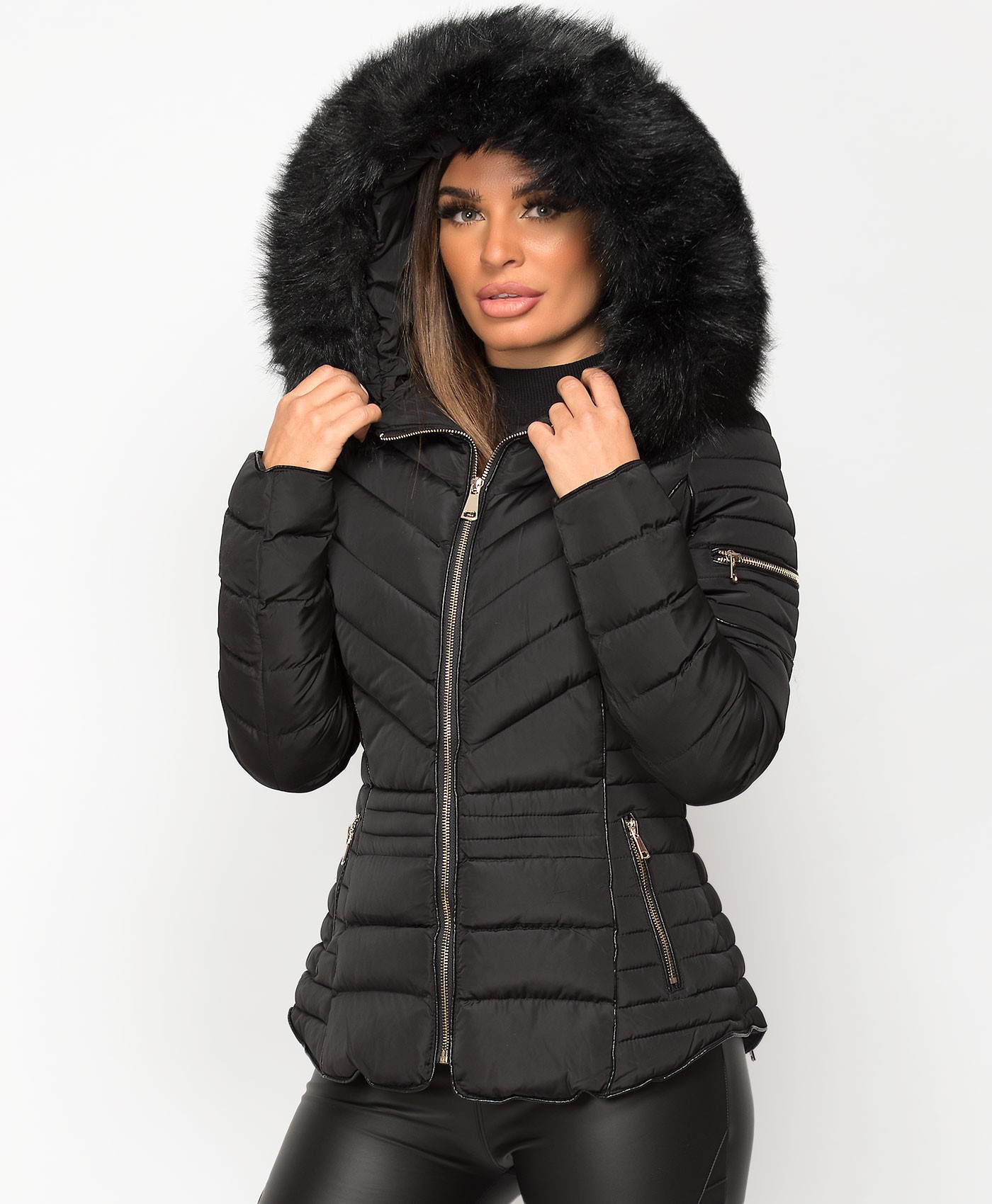 Black-Quilted-Padded-Chevron-Piping-Detail-Fur-Hooded-Puffer-Jacket-1