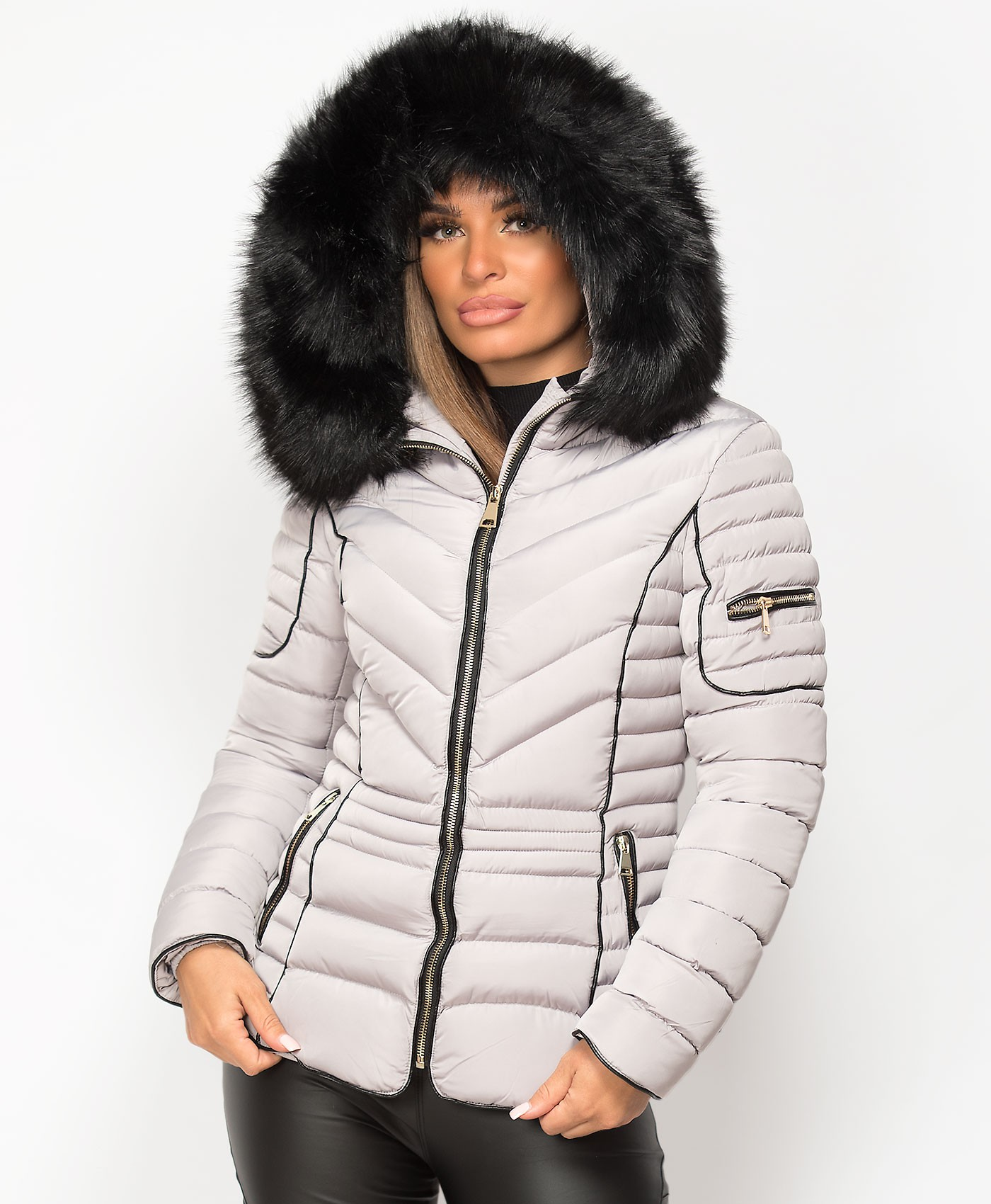 Grey-Quilted-Padded-Chevron-Piping-Detail-Fur-Hooded-Puffer-Jacket-1