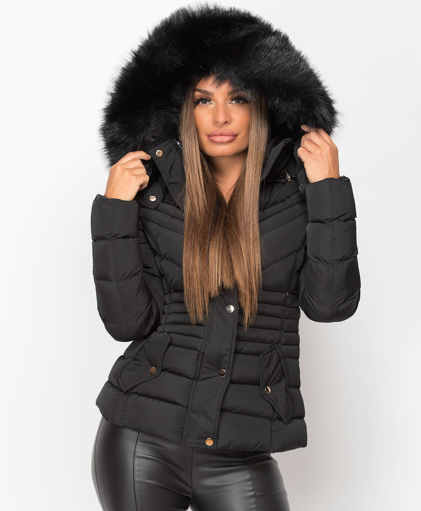 Black-Y-958-Padded-Quilted-Faux-Fur-Hooded-Jacket-1