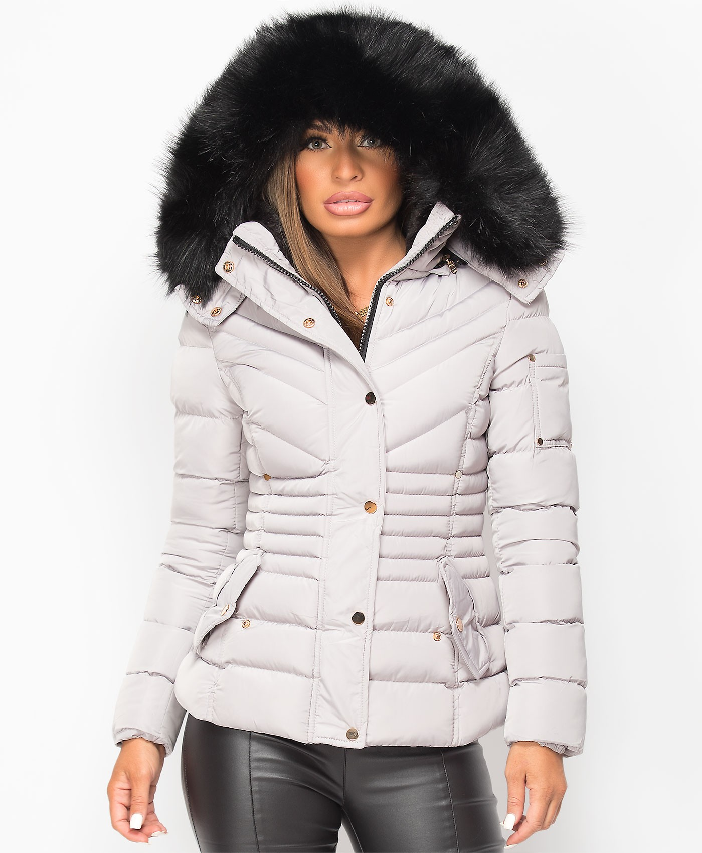 Grey Padded Chevron Quilted Faux Fur Hooded Jacket