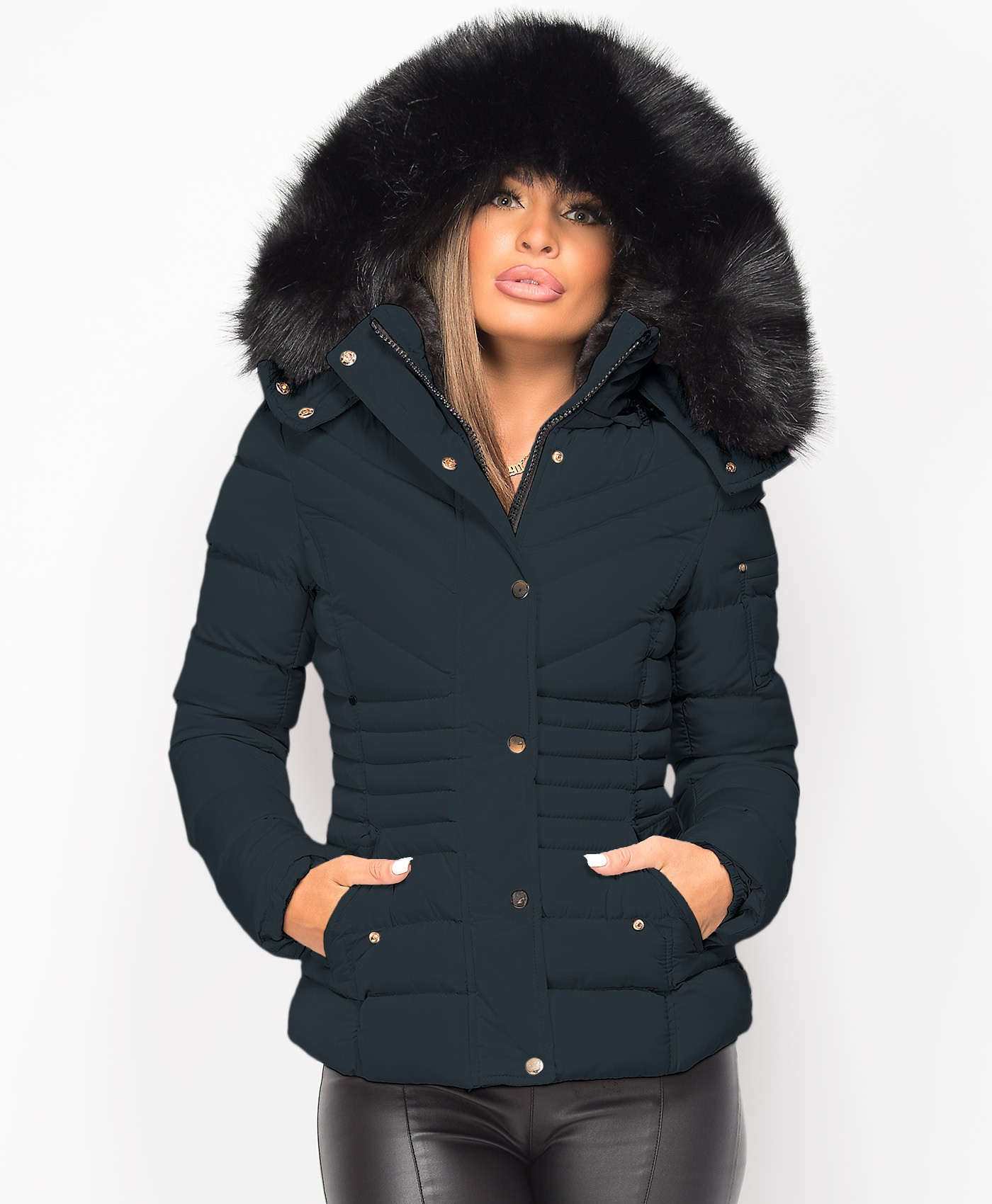 Navy Padded Chevron Quilted Faux Fur Hooded Jacket