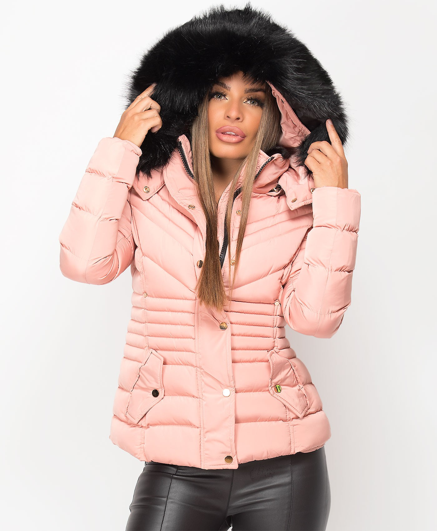 Pink Padded Chevron Quilted Faux Fur Hooded Jacket