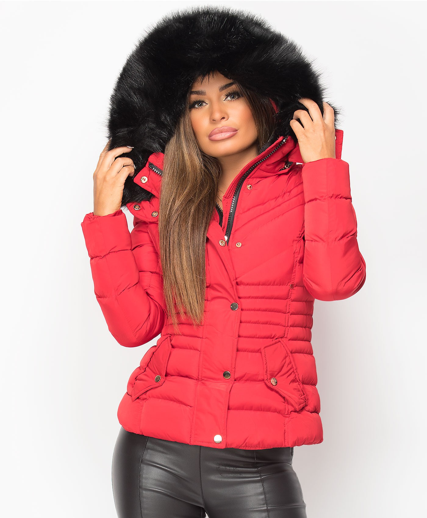 Red Padded Chevron Quilted Faux Fur Hooded Jacket