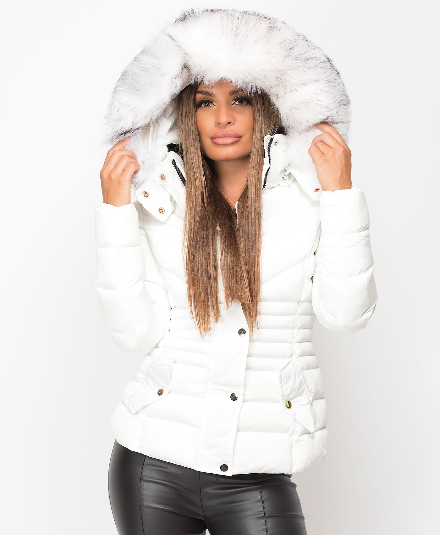 White Padded Chevron Quilted Faux Fur Hooded Jacket