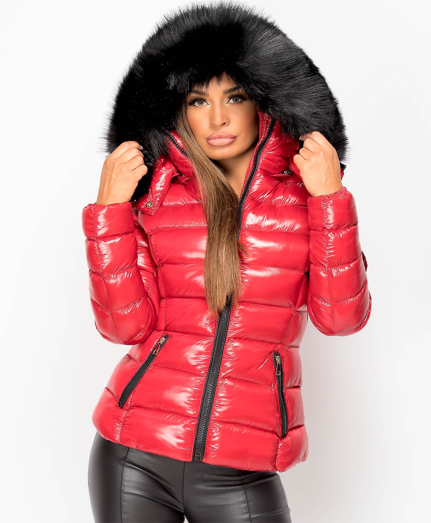 Red-Shiny-Wet-Look-Padded-Quillted-Faux-Fur-Hood-Toggle-Back-Puffer-Jacket-1