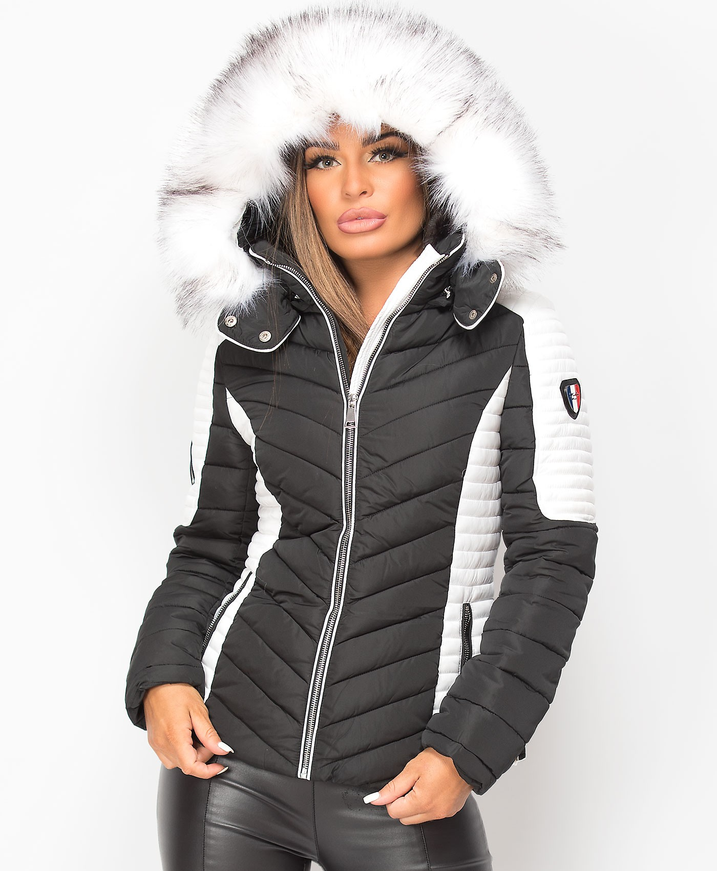 Black-White-Padded-Quilted-Contrast-Badge-Sleeve-Faux-Fur-Hooded-Puffer-Jacket-1