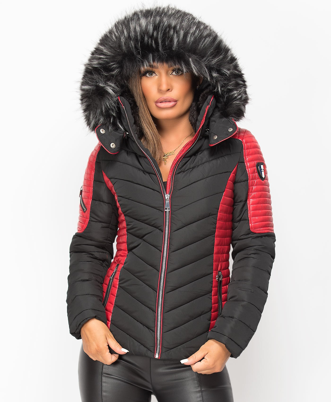 Black-Red-Padded-Quilted-Contrast-Badge-Sleeve-Faux-Fur-Hooded-Puffer-Jacket-1