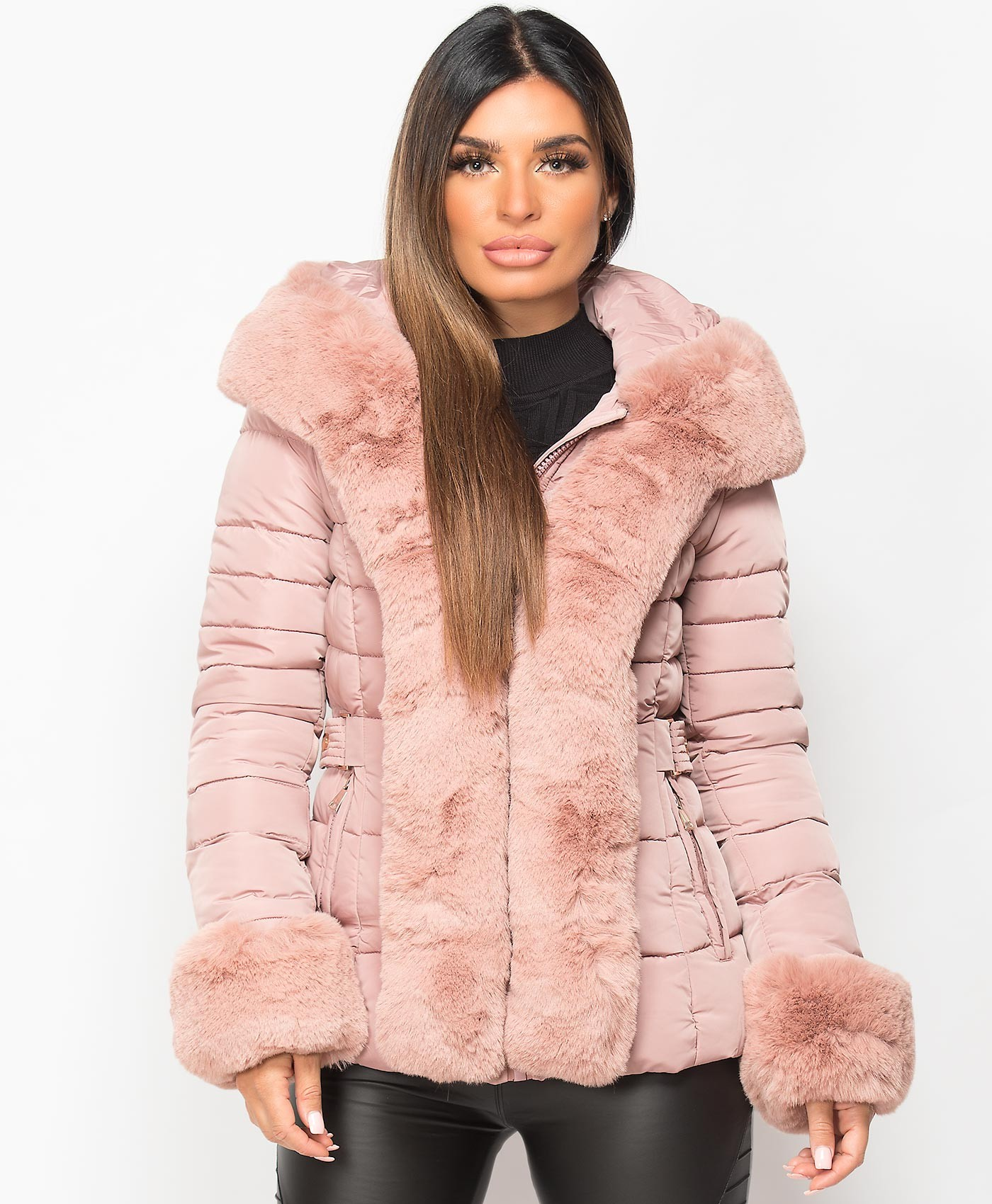 Pink-Faux-Fur-Trim-Padded-Quilted-Hooded-Puffer-Jacket-Coat-4