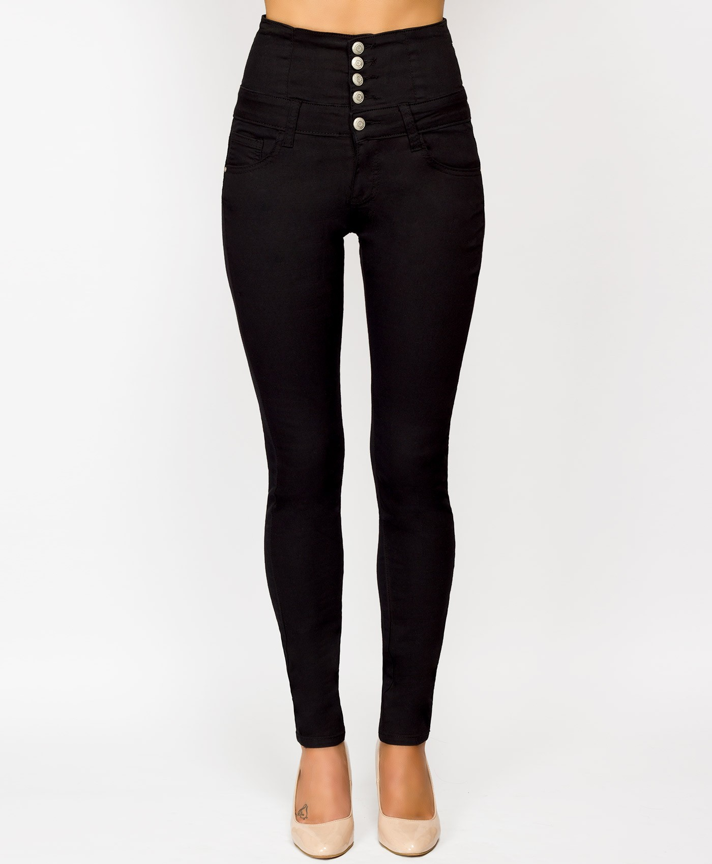 Black Button Up High Waisted Stretch Jeans