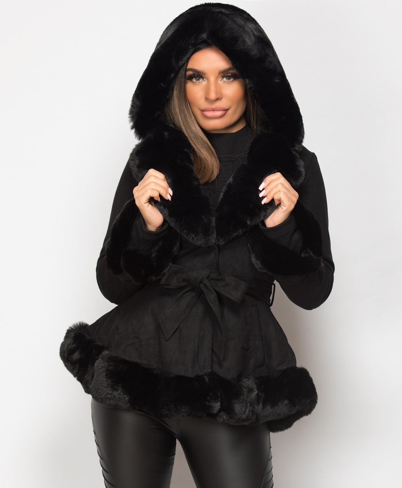 Black Faux Suede Fur Trim Hem Hooded Swing Jacket