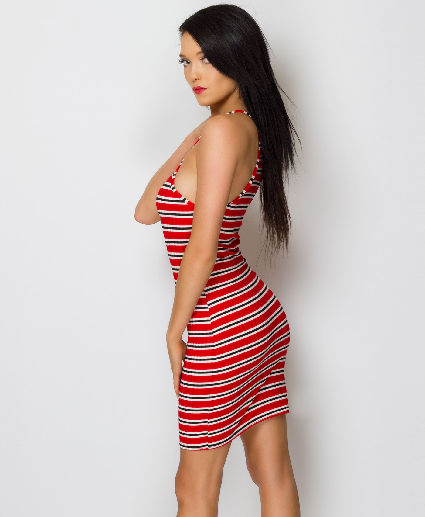 Womens Ladies Strappy Beach Striped Ribbed Mini Short Bodycon Dress Size 6-12 UK