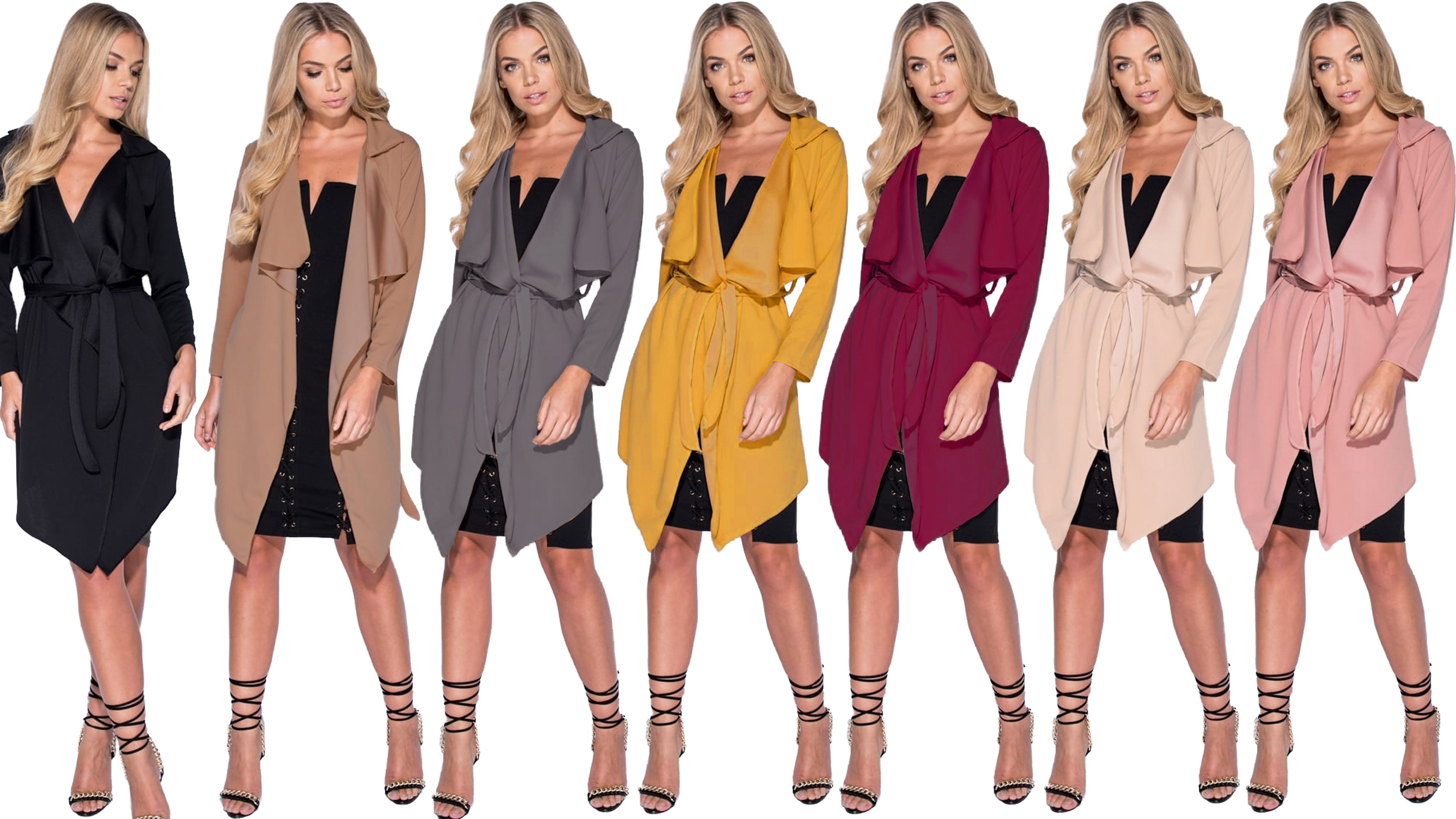 New Women Ladies Long Sleeve Waterfall Short Belted Trench Coat Jacket Plus Size