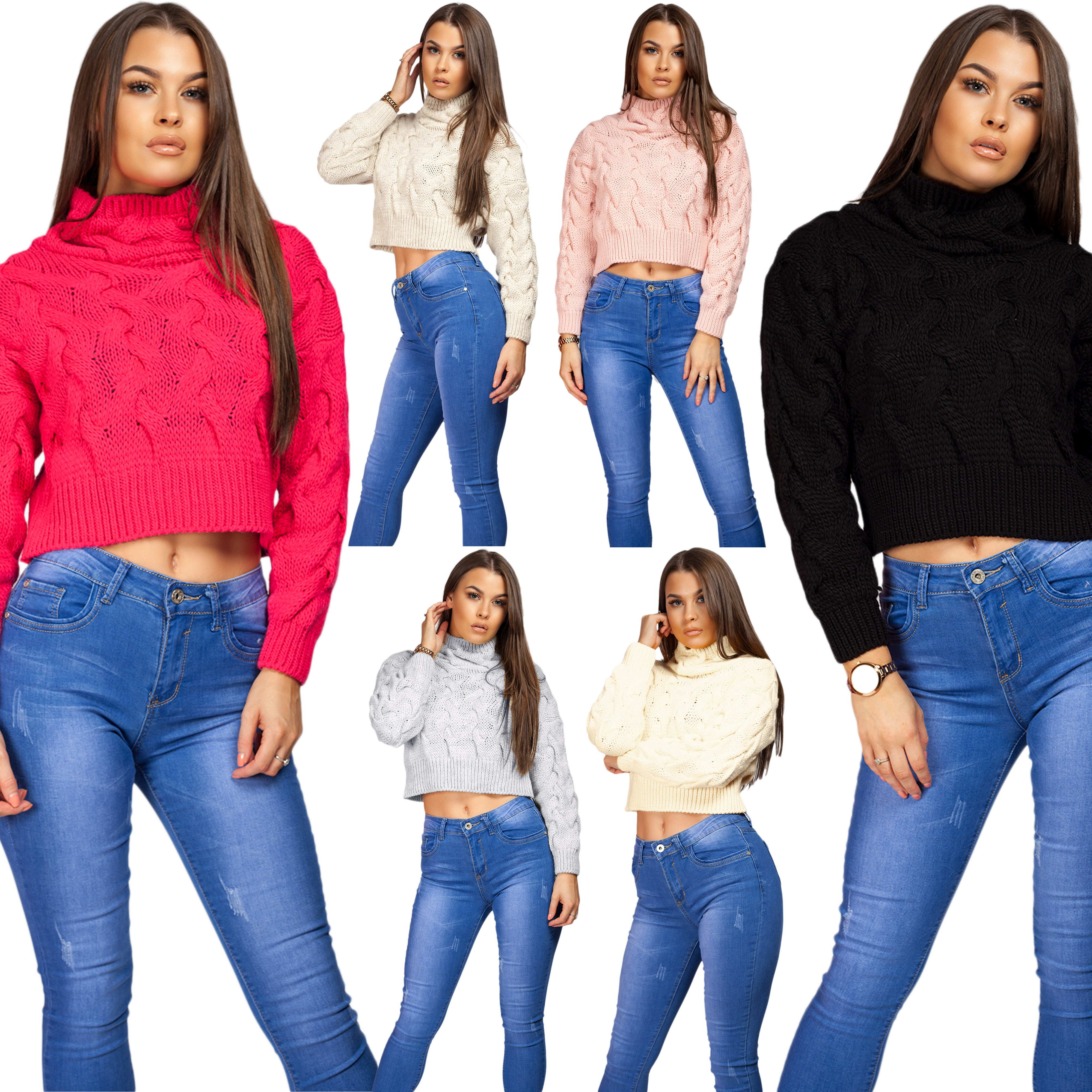 Women/'s Flourescent Chunky Cable Knitted High Neck Sweater Long Top Hip Length