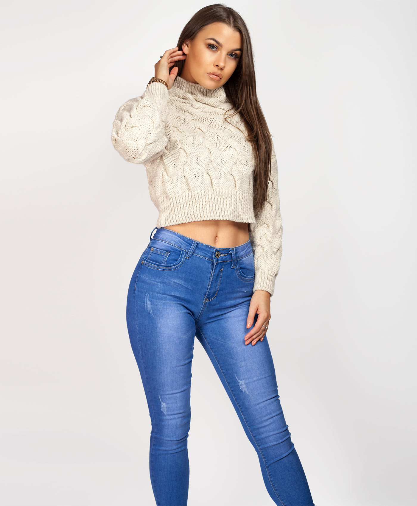 Womens-Ladies-Cable-Knitted-High-Neck-Cropped-Top-Pullover-Sweater-Chunky-Jumper thumbnail 18