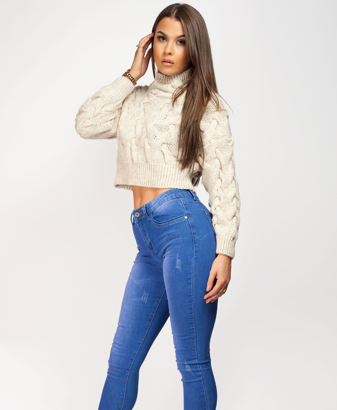 Womens-Ladies-Cable-Knitted-High-Neck-Cropped-Top-Pullover-Sweater-Chunky-Jumper thumbnail 19