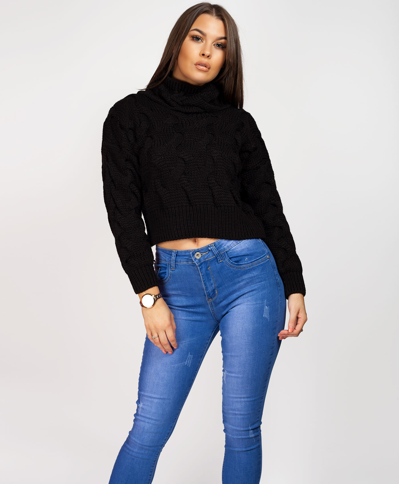 Womens-Ladies-Cable-Knitted-High-Neck-Cropped-Top-Pullover-Sweater-Chunky-Jumper thumbnail 22