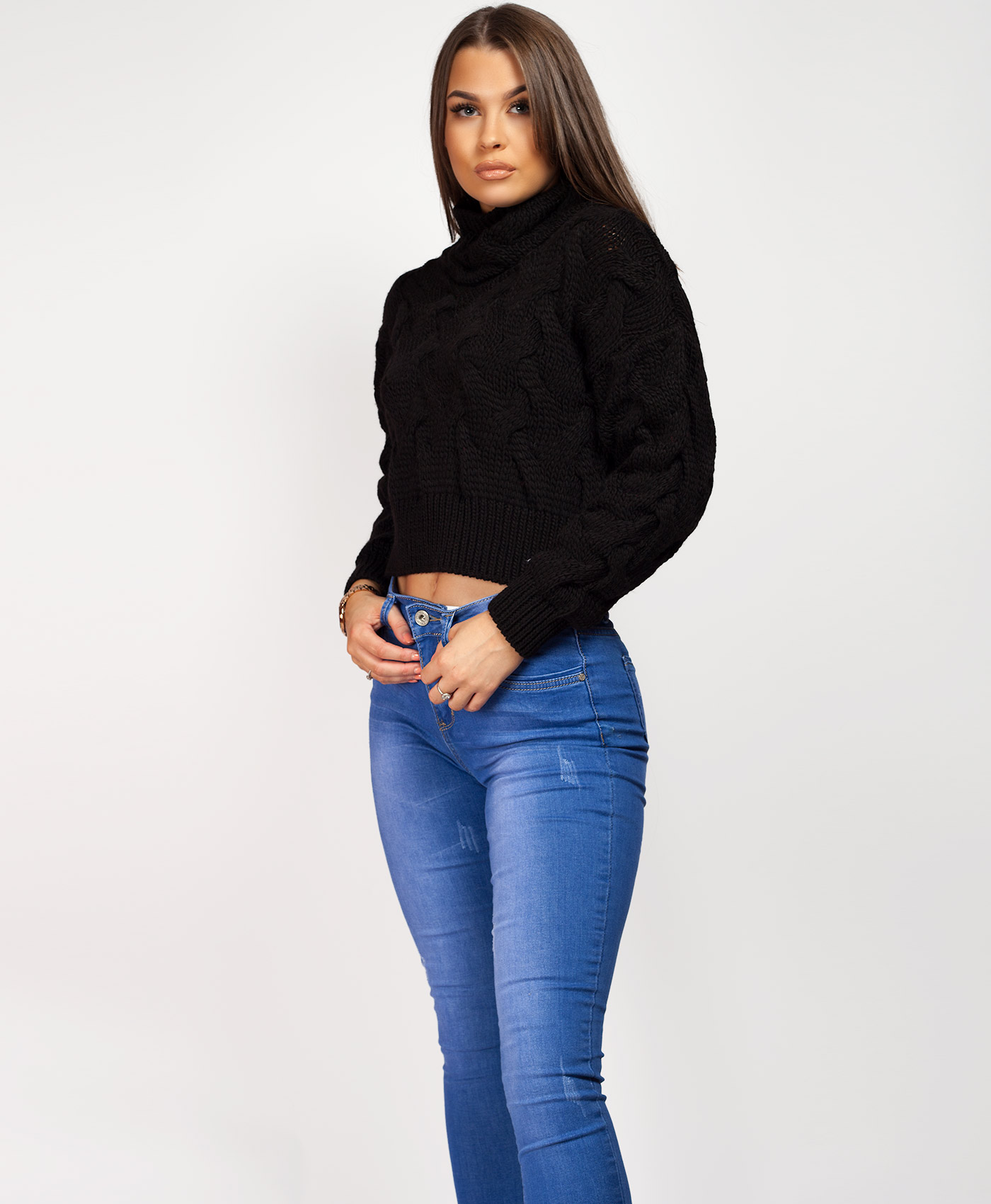 Womens-Ladies-Cable-Knitted-High-Neck-Cropped-Top-Pullover-Sweater-Chunky-Jumper thumbnail 23
