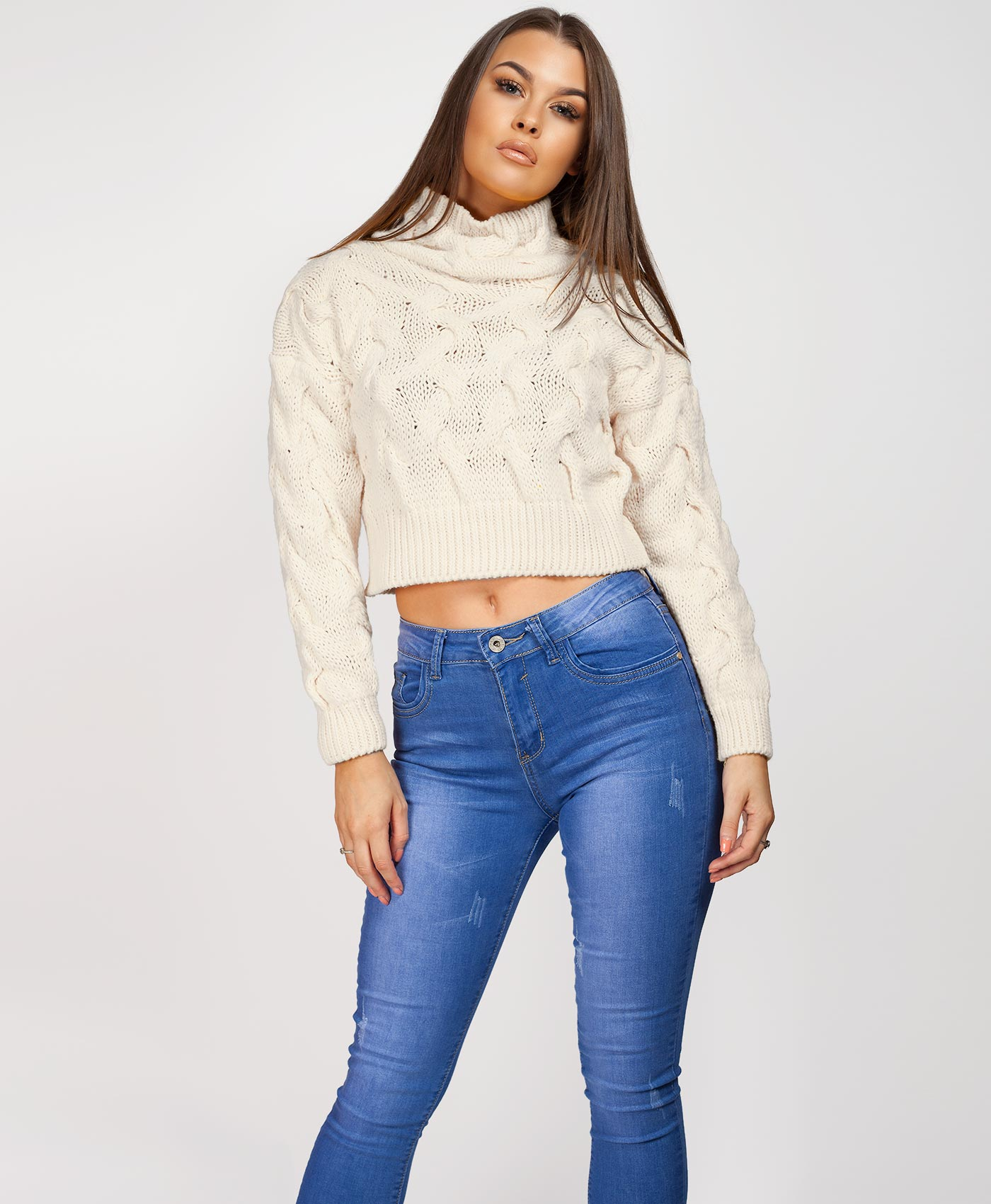 Womens-Ladies-Cable-Knitted-High-Neck-Cropped-Top-Pullover-Sweater-Chunky-Jumper thumbnail 26