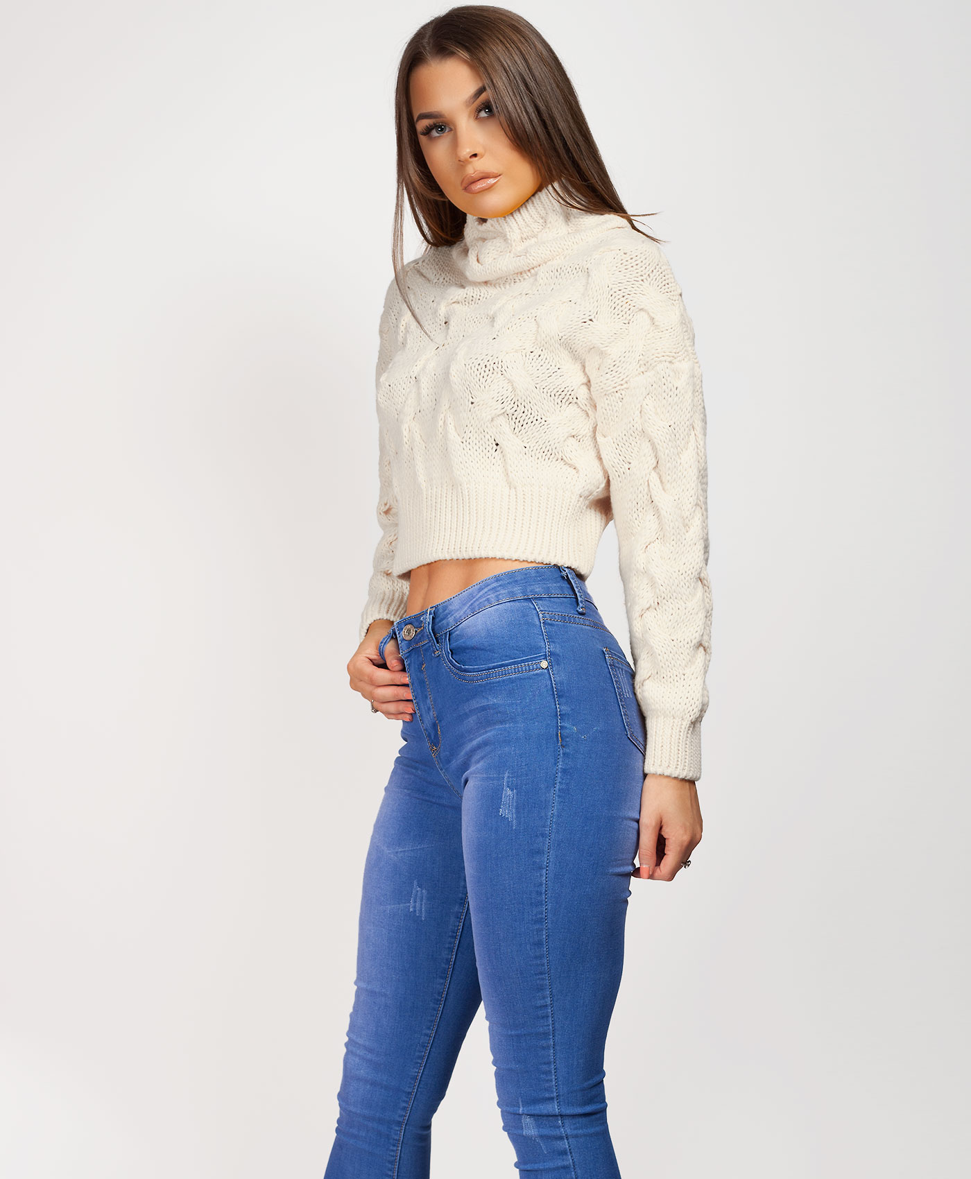 Womens-Ladies-Cable-Knitted-High-Neck-Cropped-Top-Pullover-Sweater-Chunky-Jumper thumbnail 27