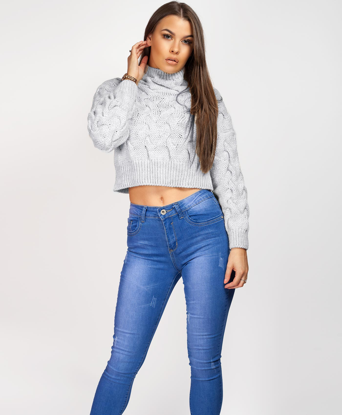 Womens-Ladies-Cable-Knitted-High-Neck-Cropped-Top-Pullover-Sweater-Chunky-Jumper thumbnail 30