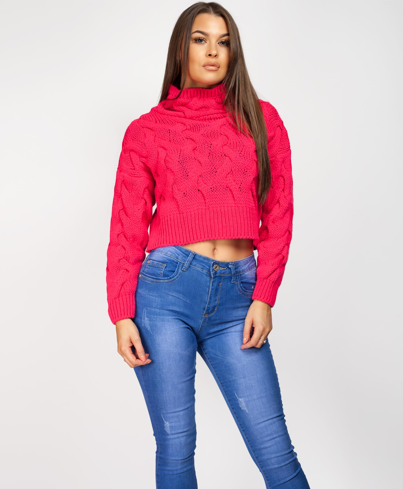 Womens-Ladies-Cable-Knitted-High-Neck-Cropped-Top-Pullover-Sweater-Chunky-Jumper thumbnail 14