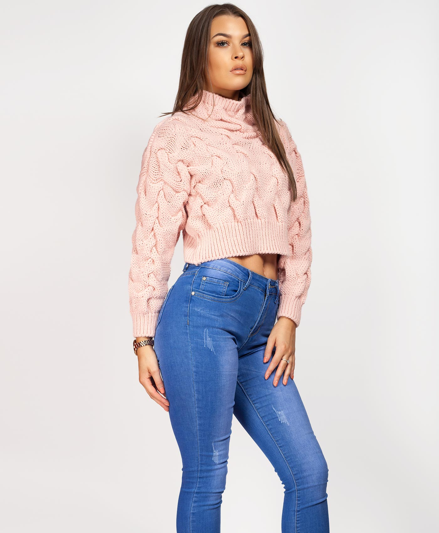 Womens-Ladies-Cable-Knitted-High-Neck-Cropped-Top-Pullover-Sweater-Chunky-Jumper thumbnail 34