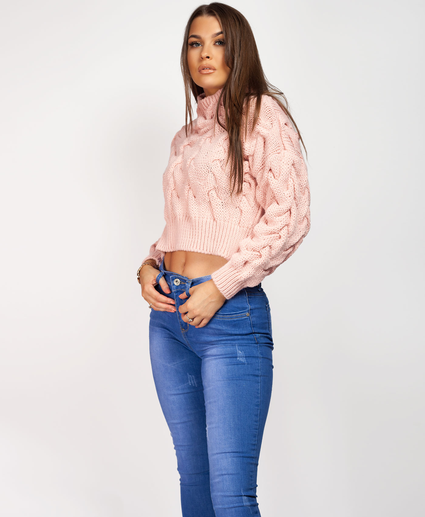 Womens-Ladies-Cable-Knitted-High-Neck-Cropped-Top-Pullover-Sweater-Chunky-Jumper thumbnail 35