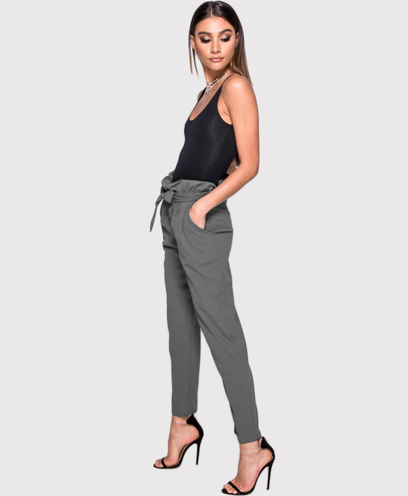 Ladies Womens Stretchy Side Stripes Paper Bag Tie High Waisted Cigratte Trousers