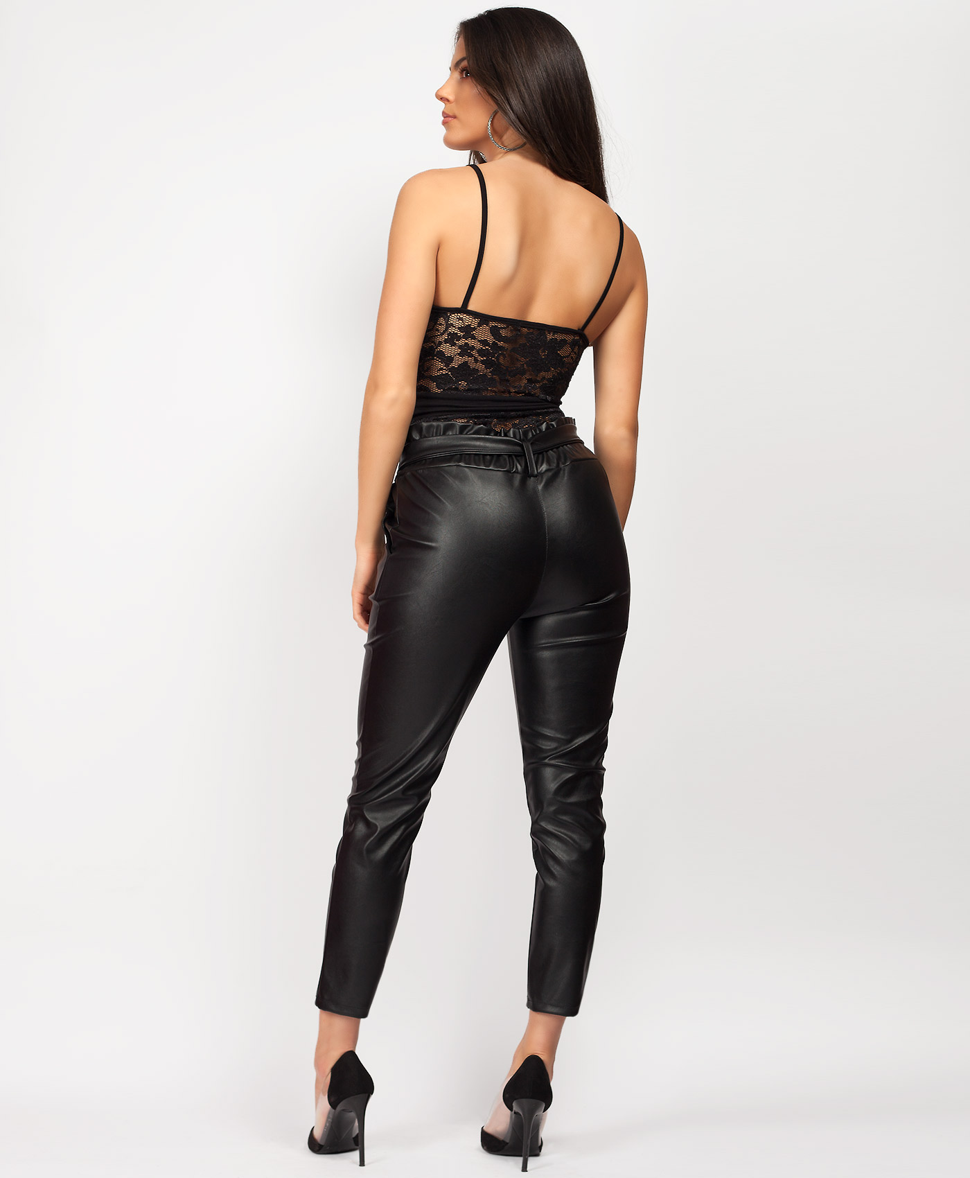Women/'s Ladies Pvc Faux Leather High Waist Belted Paper Bag Trouser Pant