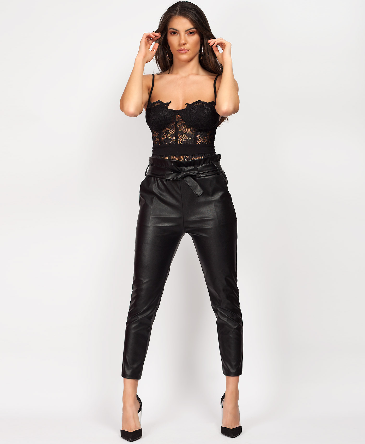 professional sale limited style top-rated fashion Details about Womens Ladies PVC Wet Leather Look High Waist PU Belted Paper  Bag Trousers Pants