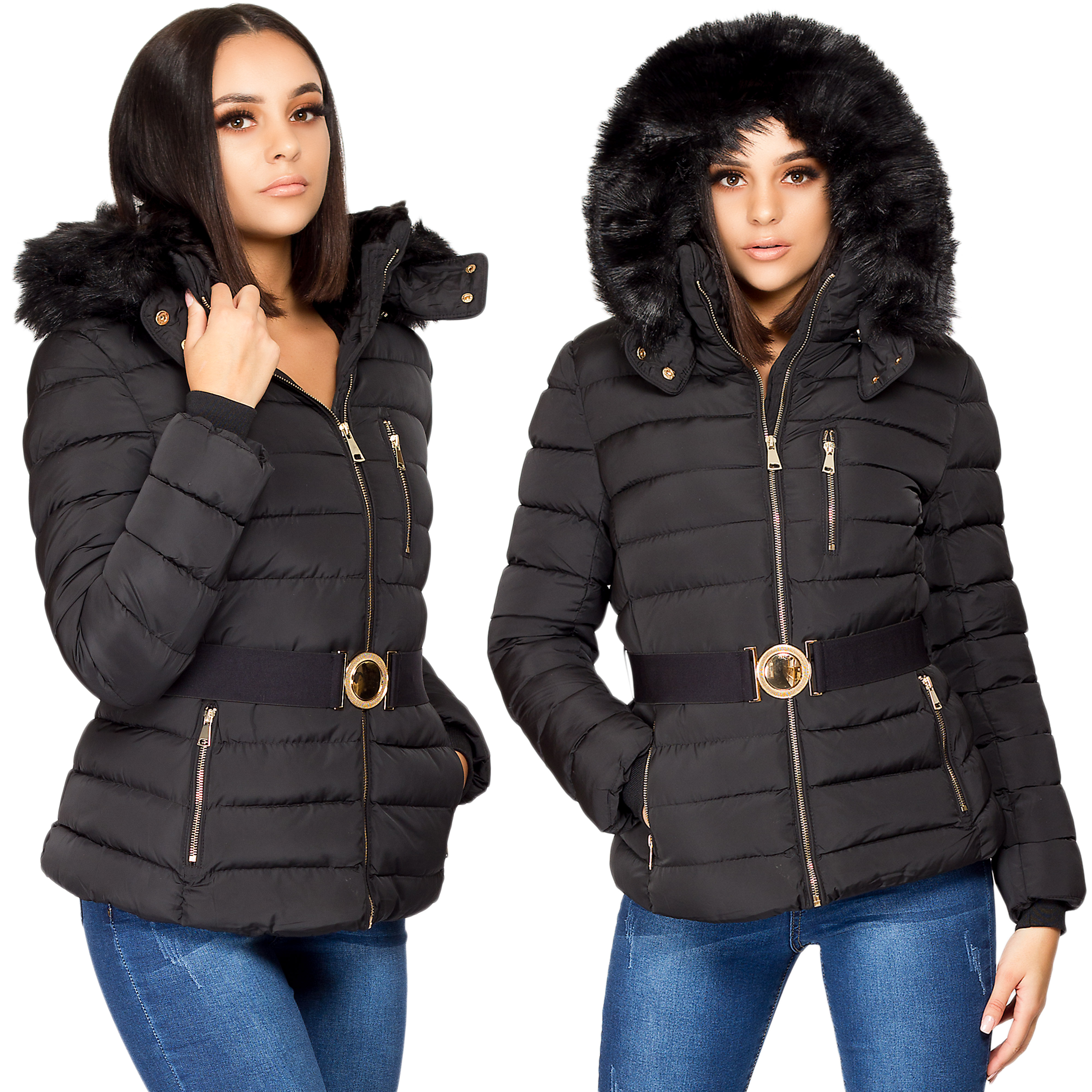 52dc64424 Details about Womens Ladies Quilted Puffer Bubble Padded Jacket Fur Hooded  Zip Warm Thick Coat