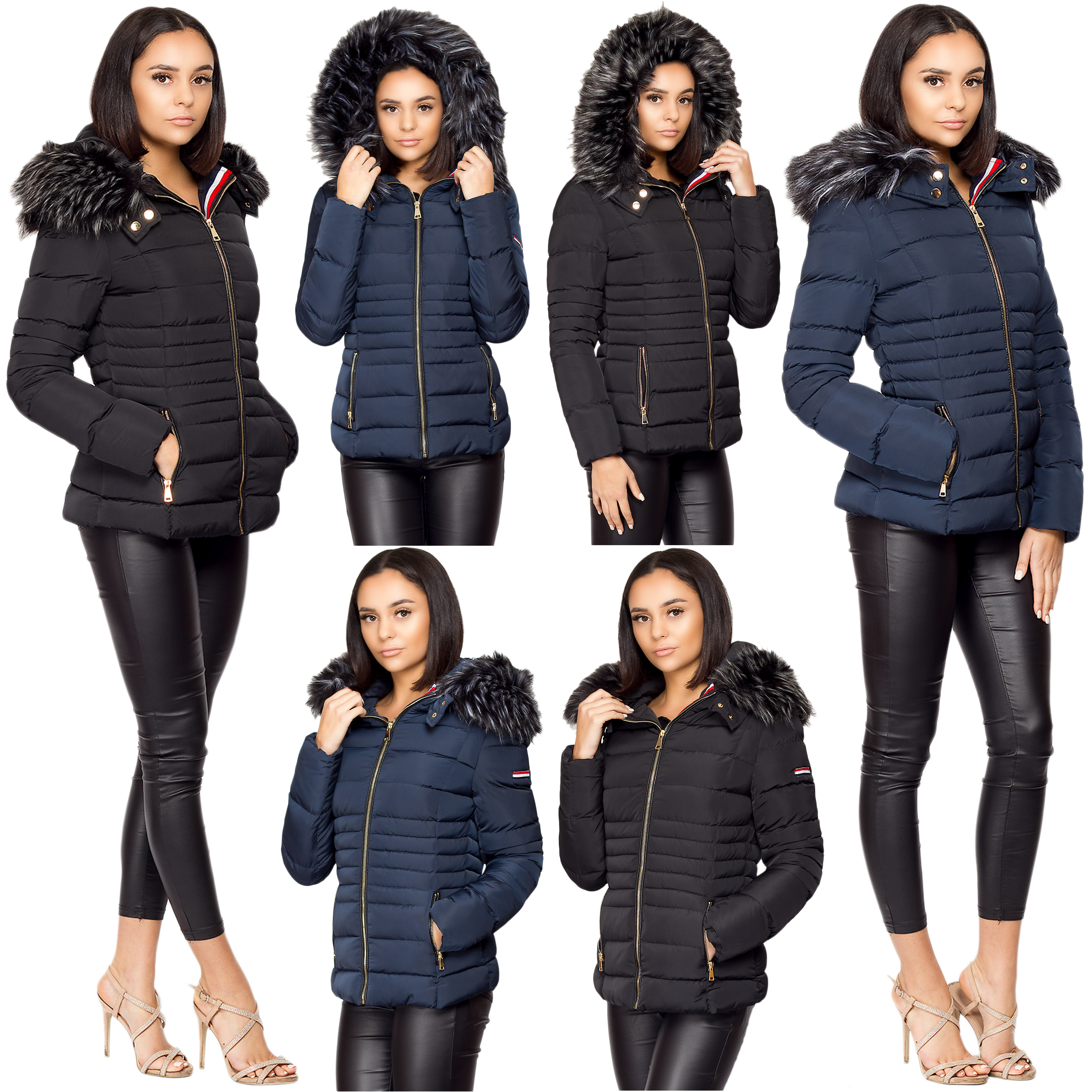 d5843a3d4fc0 Details about Ladies Women Quilted Puffer Bubble Padded Faux Fur Hooded  Warm Thick Coat Jacket